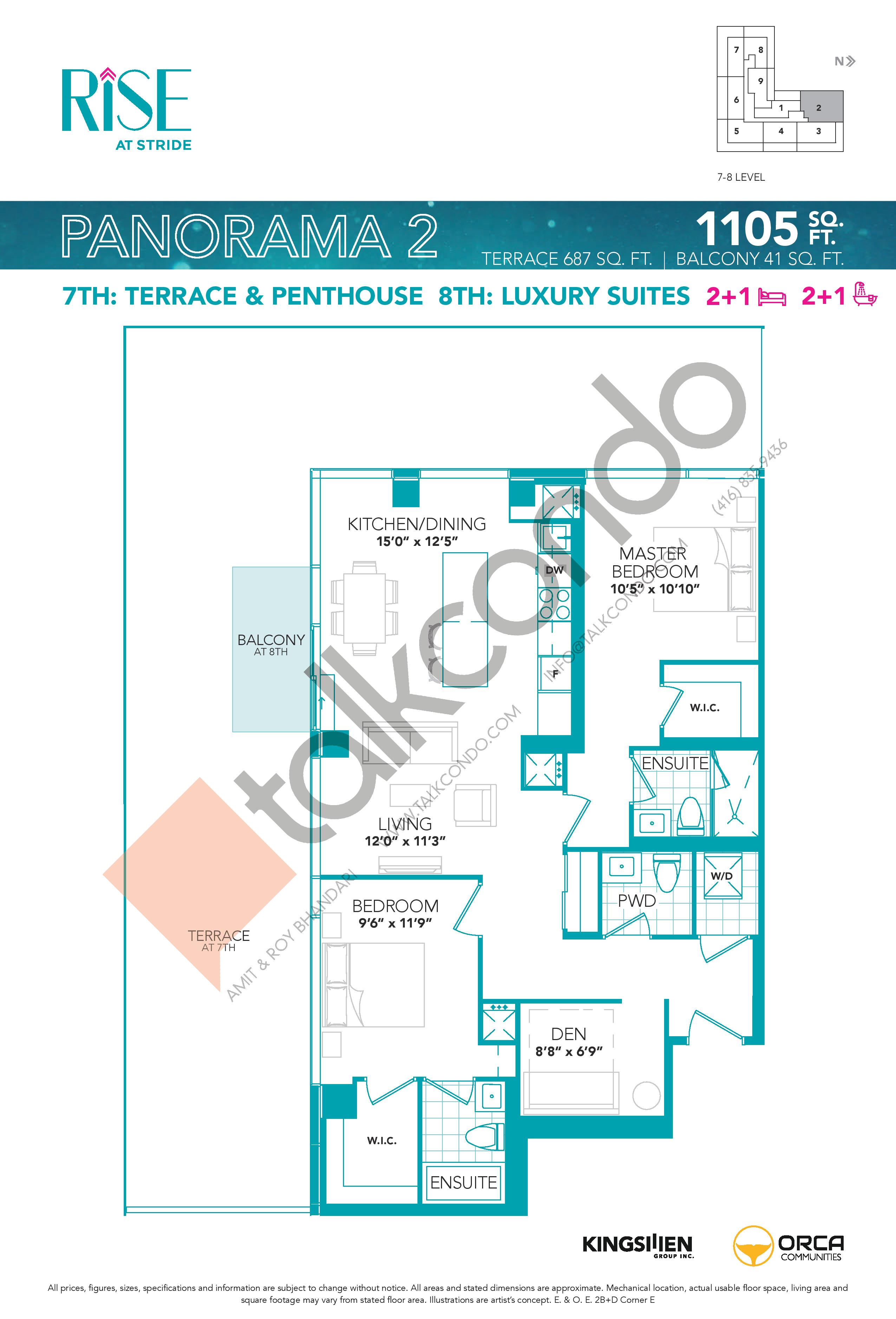 Panorama 2 Floor Plan at Rise at Stride Condos - 1105 sq.ft