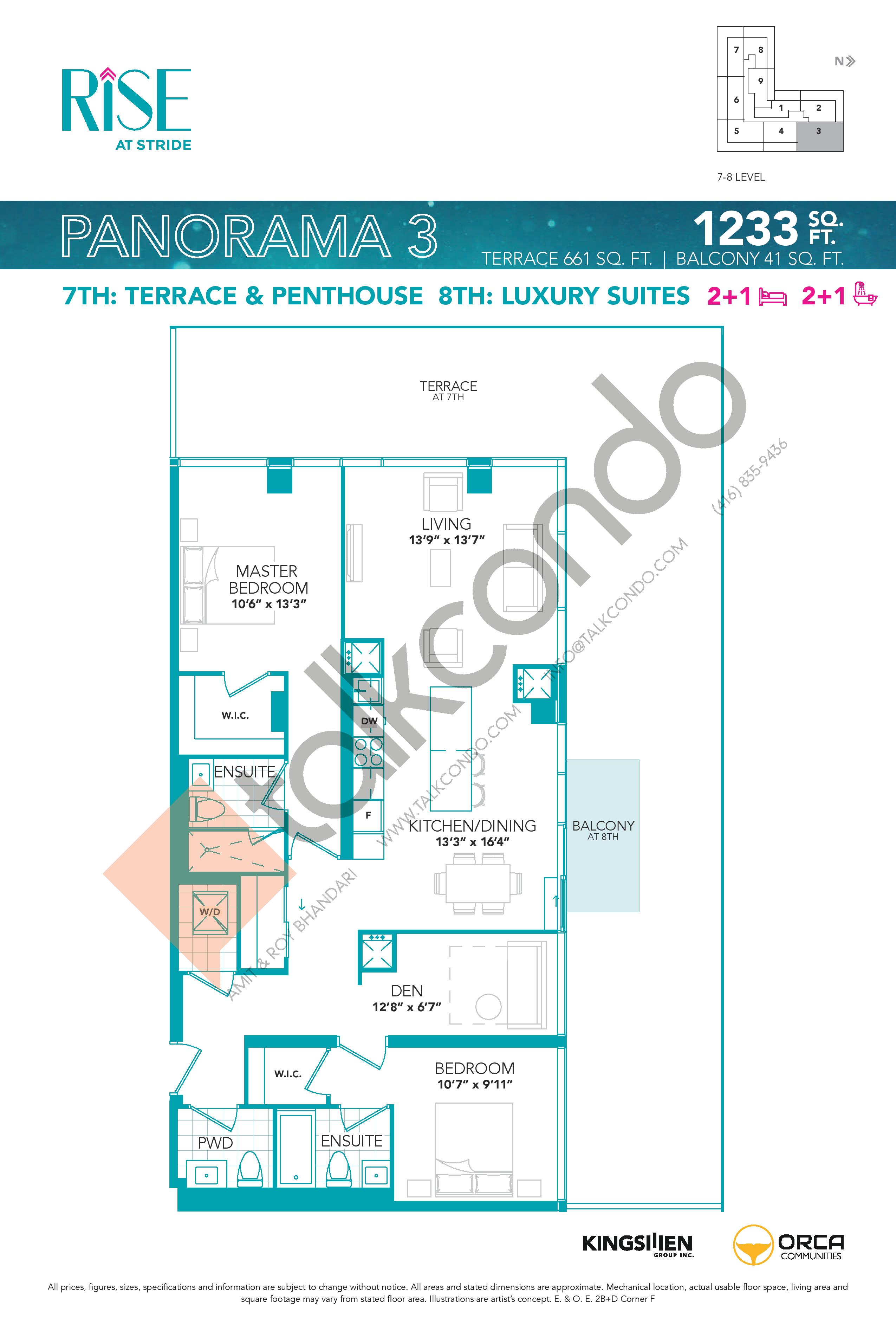 Panorama 3 Floor Plan at Rise at Stride Condos - 1233 sq.ft
