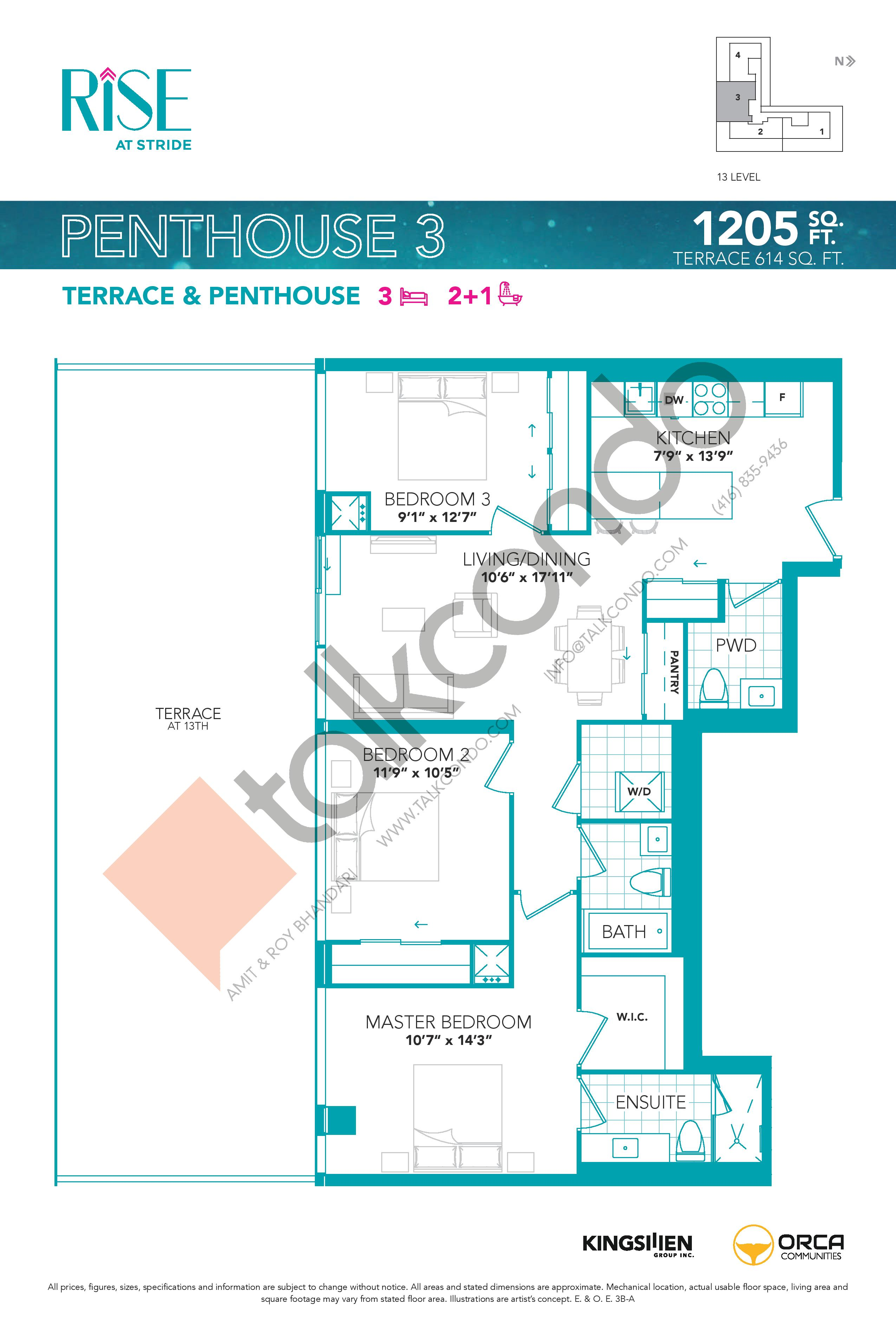 Penthouse 3 Floor Plan at Rise at Stride Condos - 1205 sq.ft