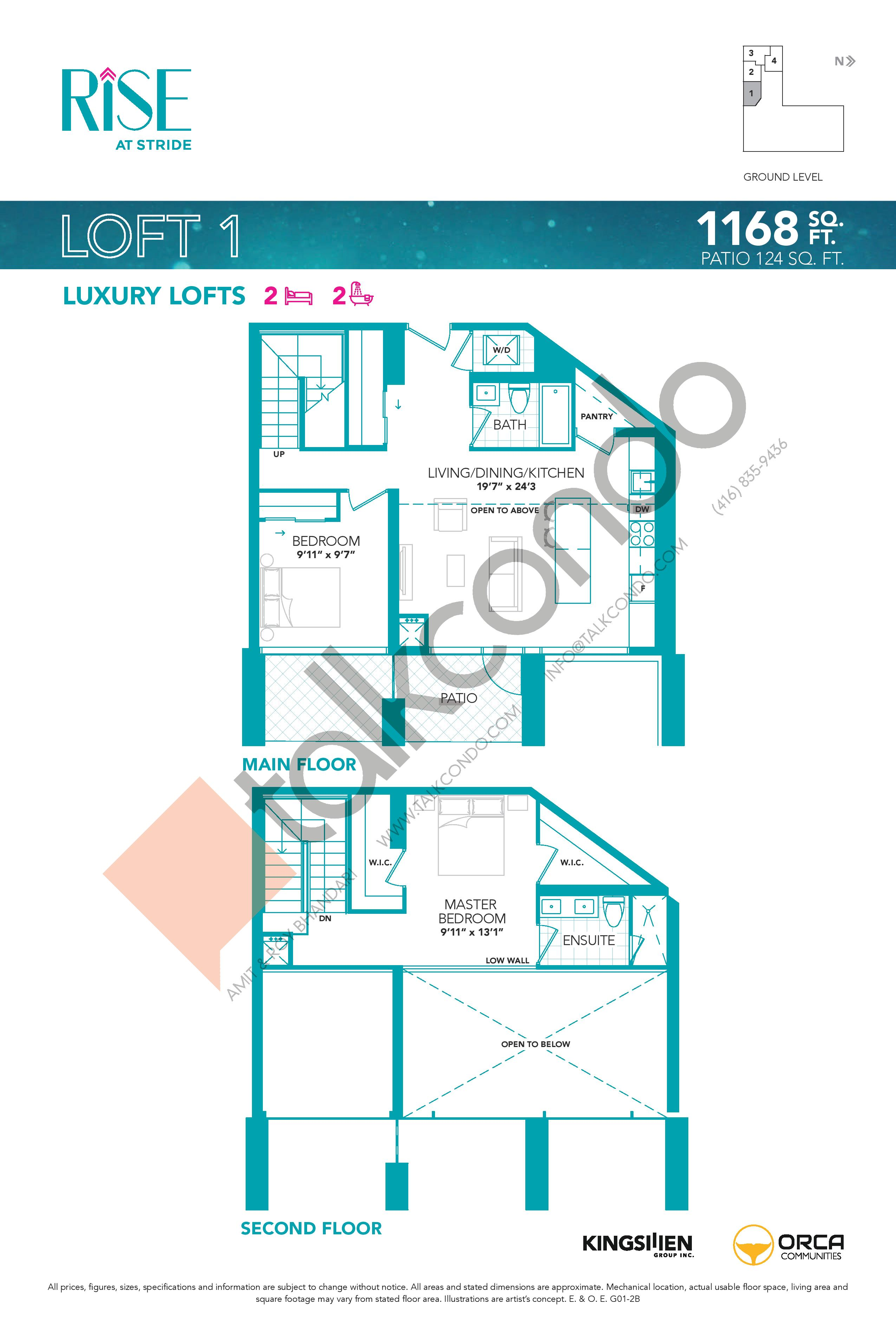 Loft 1 Floor Plan at Rise at Stride Condos - 1168 sq.ft