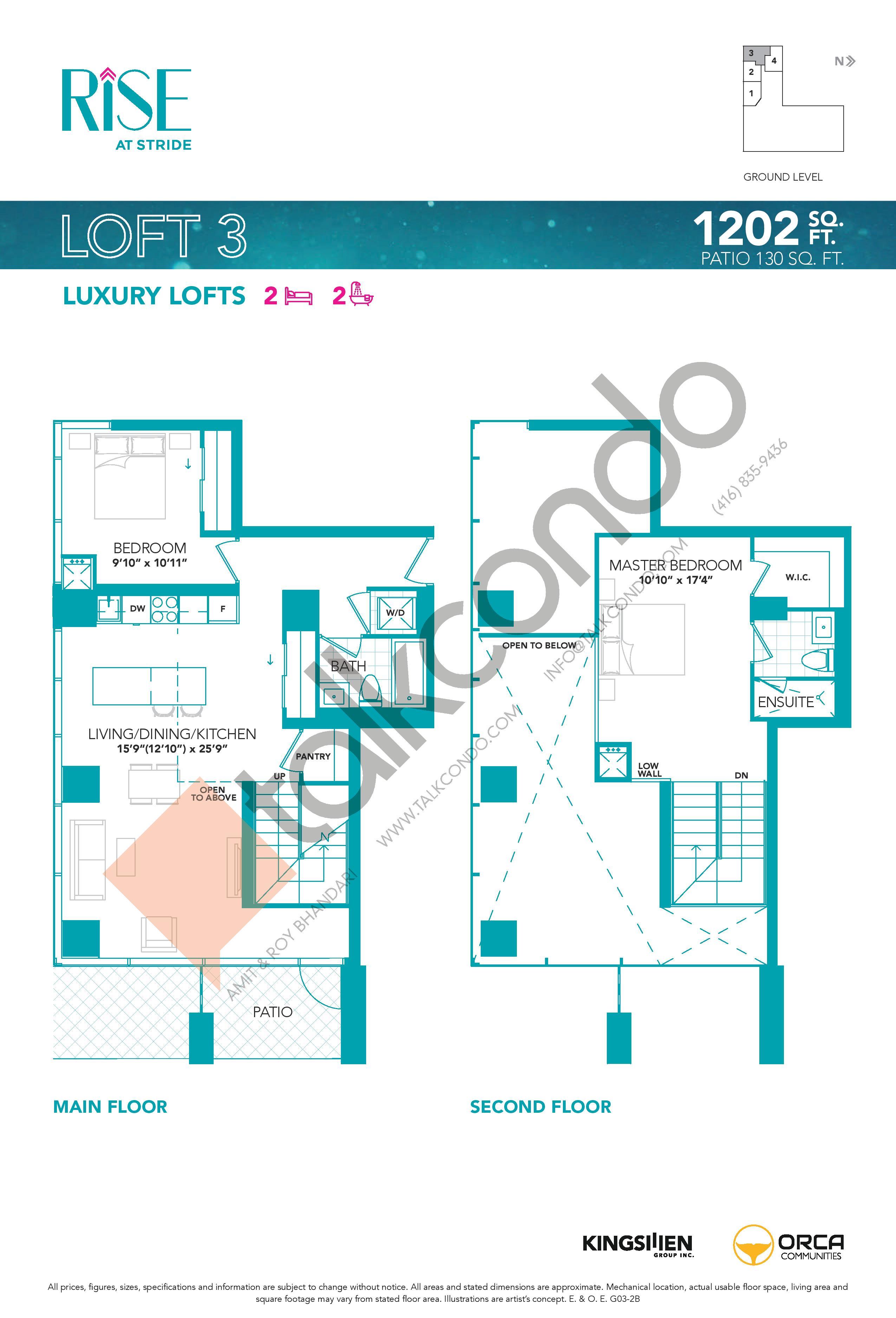 Loft 3 Floor Plan at Rise at Stride Condos - 1202 sq.ft