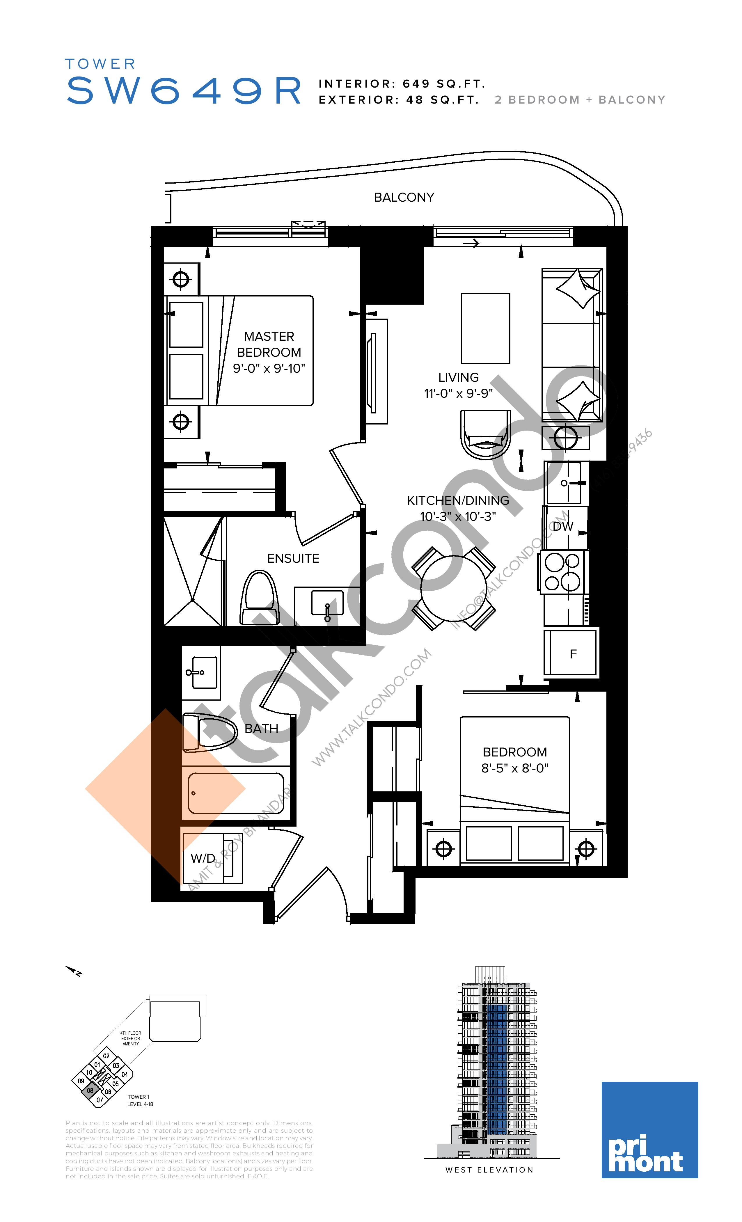 SW649R Floor Plan at SXSW Condos & Towns - 649 sq.ft