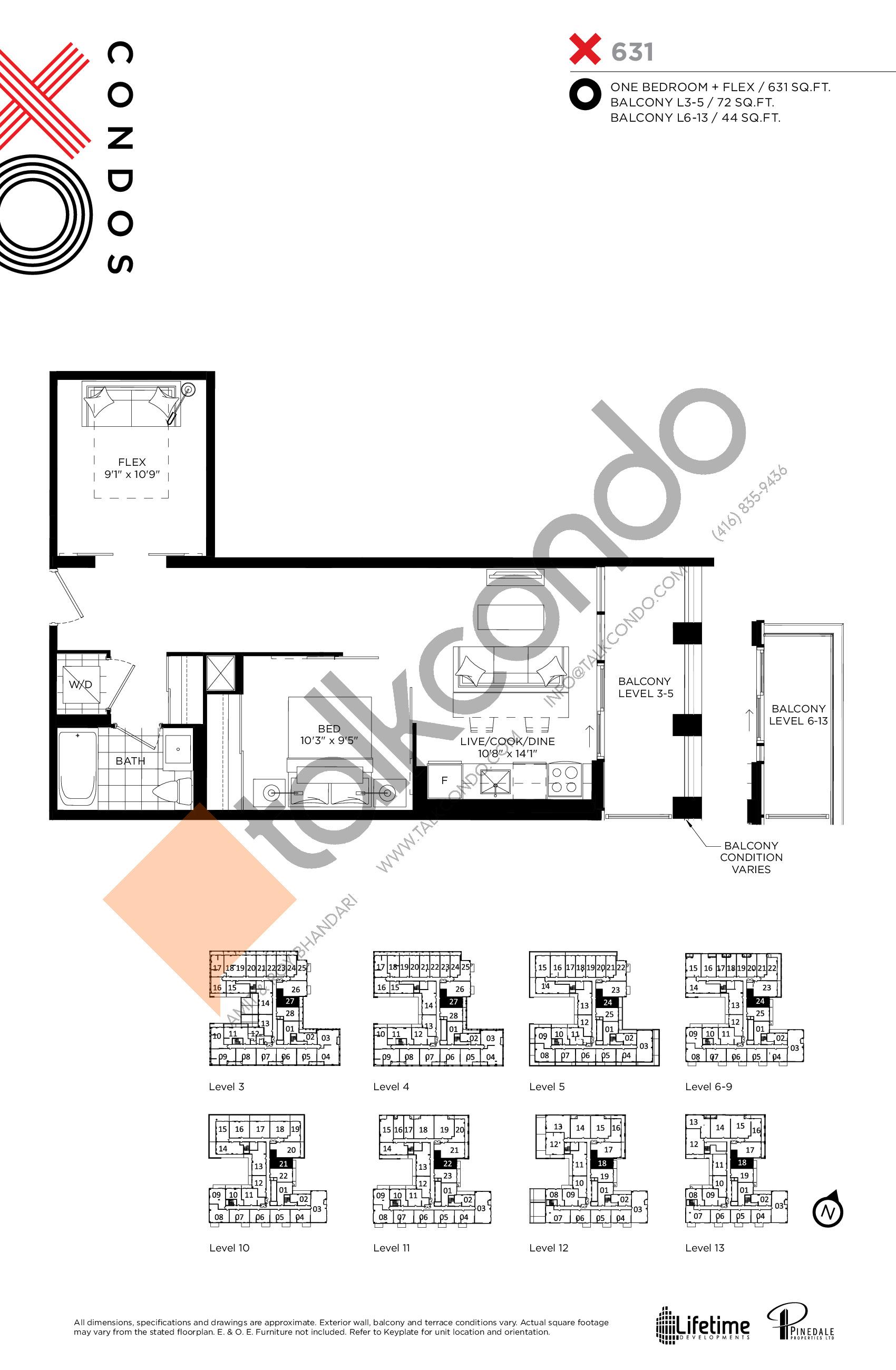 X631 Floor Plan at XO Condos - 631 sq.ft
