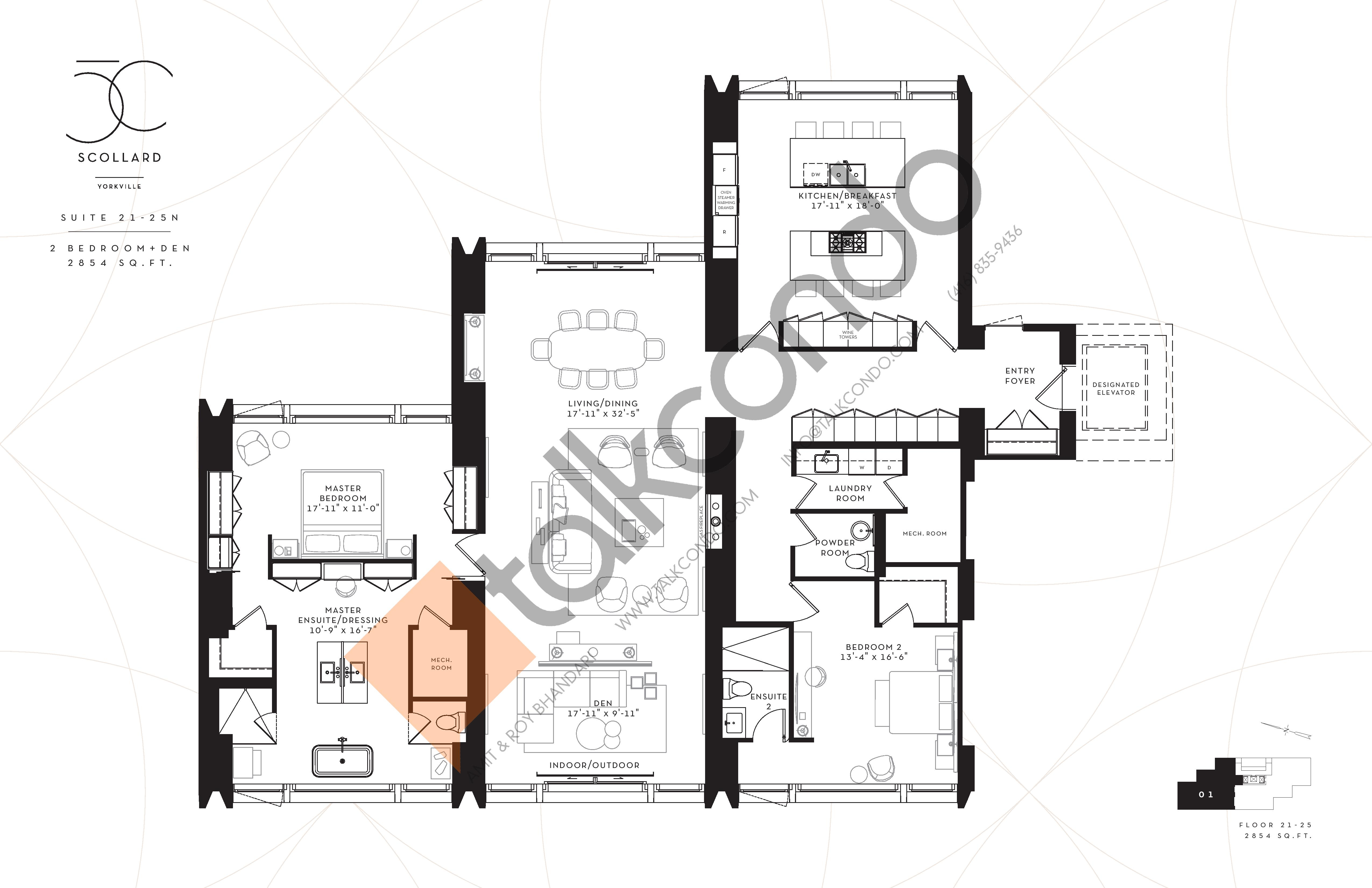 Suite 21-25N Floor Plan at Fifty Scollard Condos - 2854 sq.ft