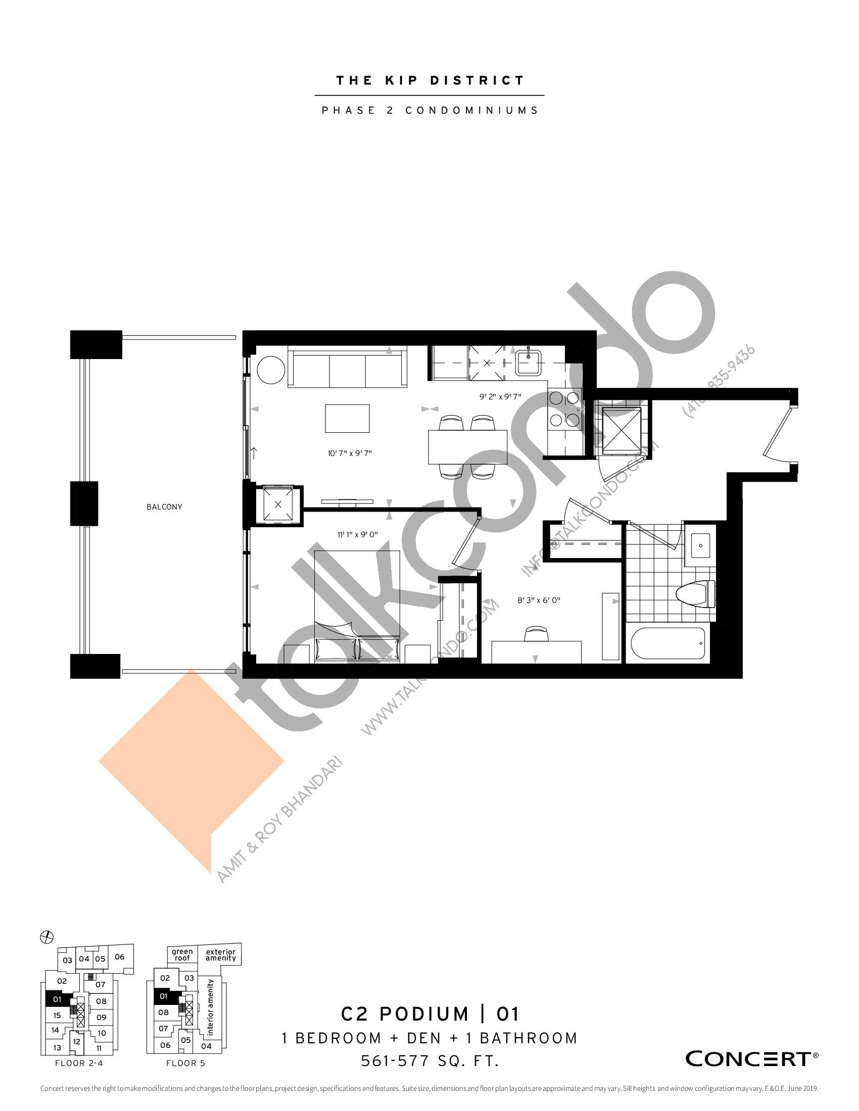 C2 Podium | 01 Floor Plan at The Kip District Phase 2 Condos - 561 sq.ft