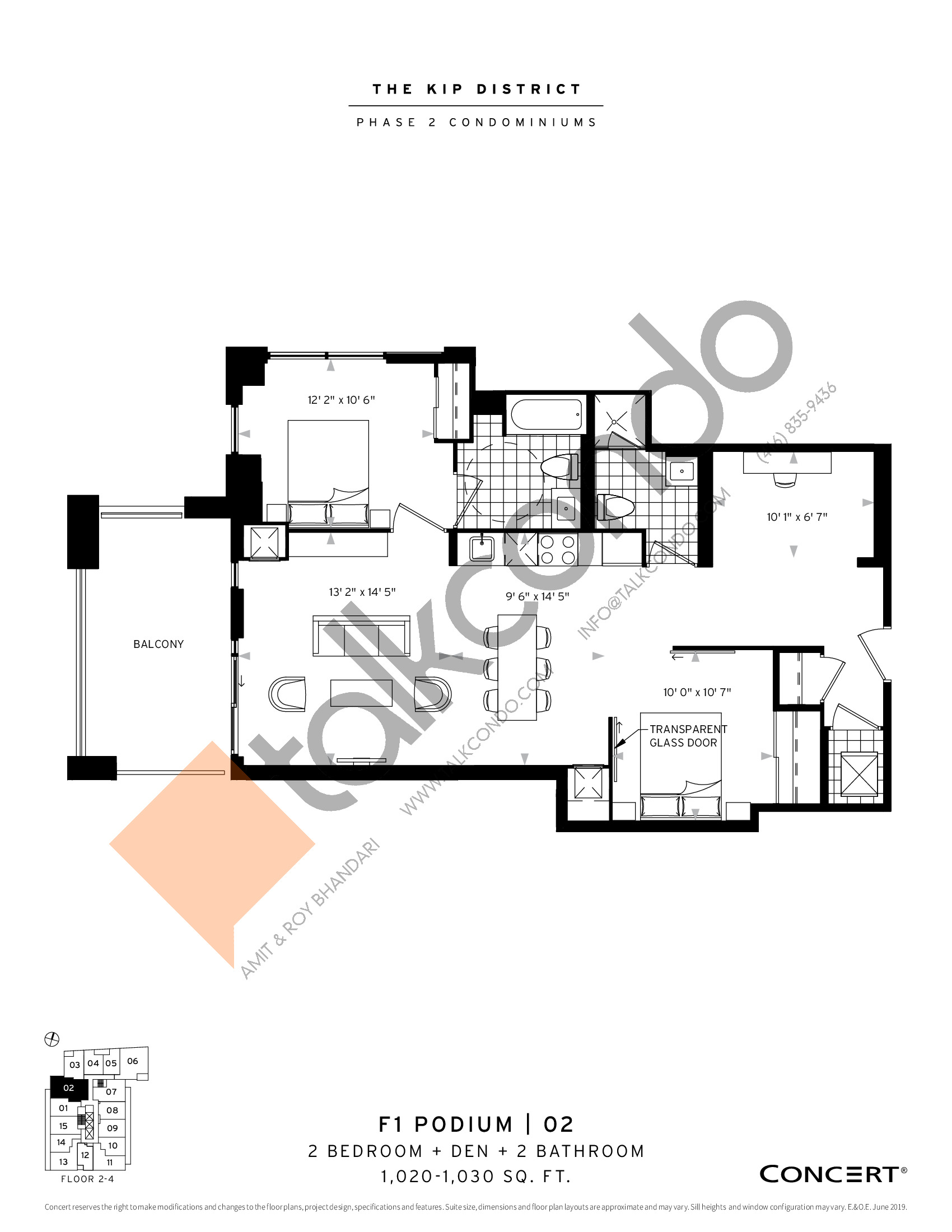 F1 Podium | 02 Floor Plan at The Kip District Phase 2 Condos - 1020 sq.ft