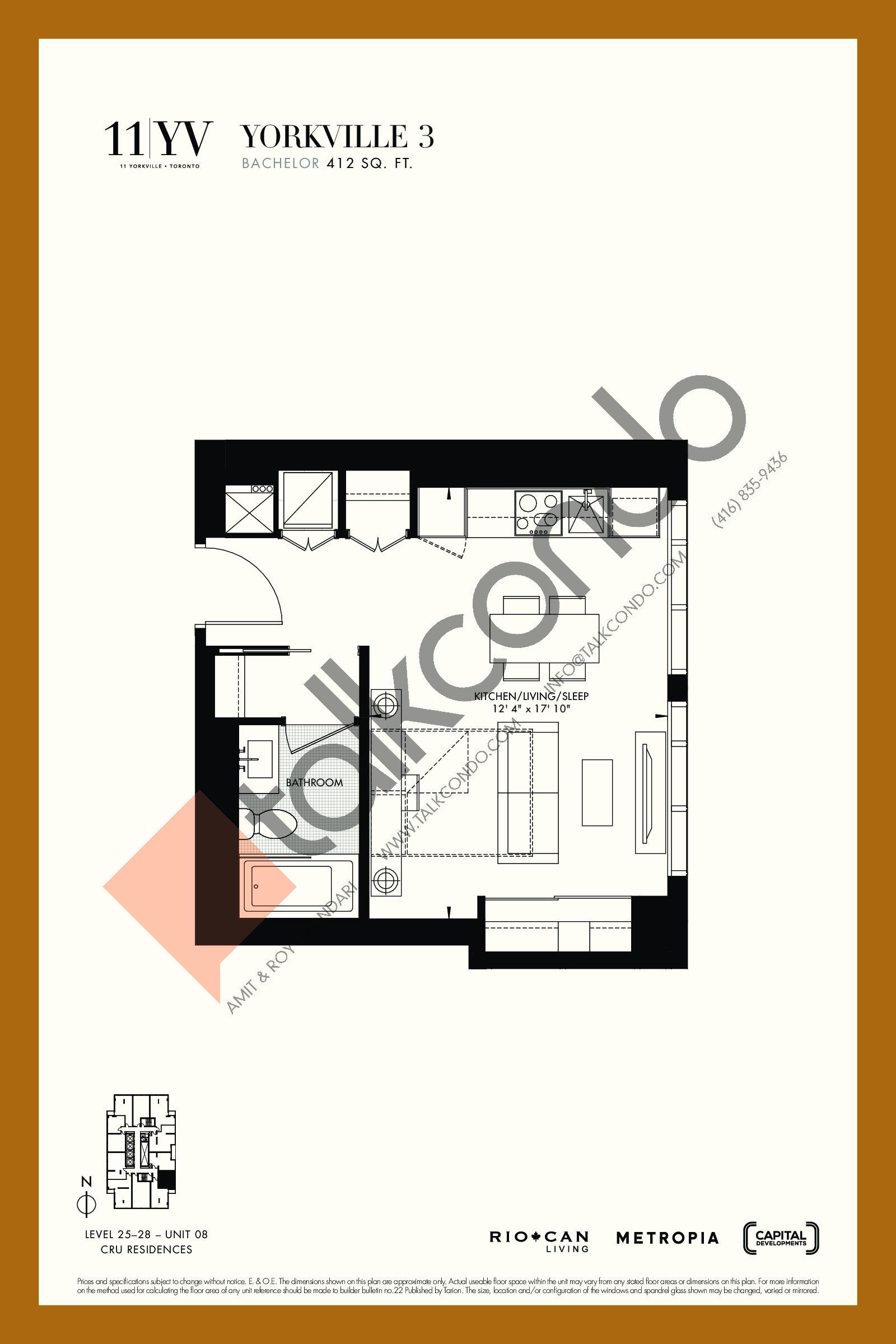 Yorkville 3 Floor Plan at 11YV Condos - 412 sq.ft
