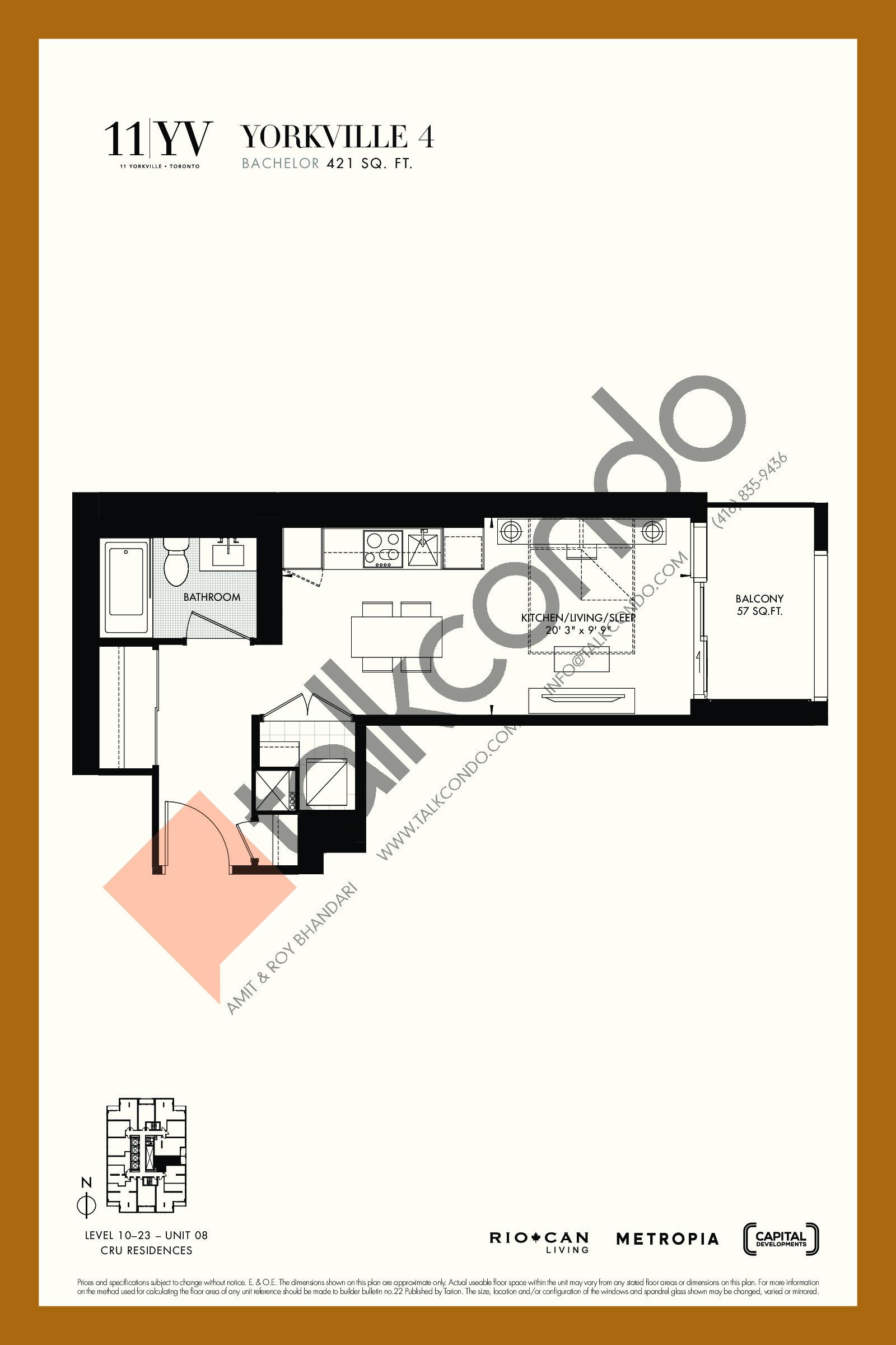 Yorkville 4 Floor Plan at 11YV Condos - 421 sq.ft