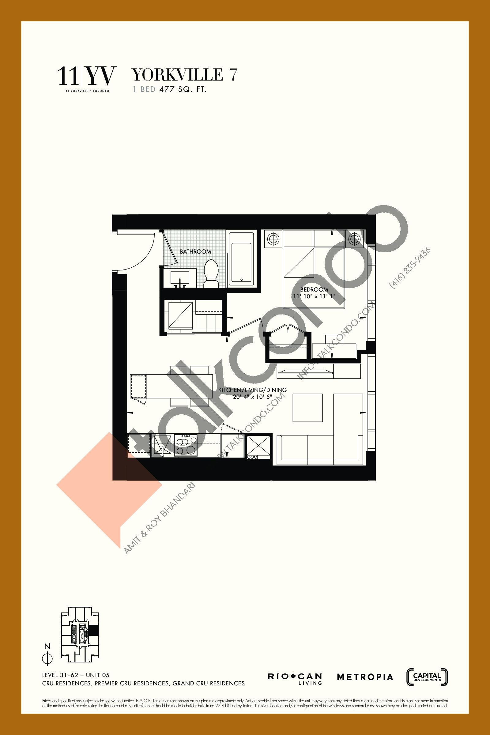 Yorkville 7 Floor Plan at 11YV Condos - 477 sq.ft