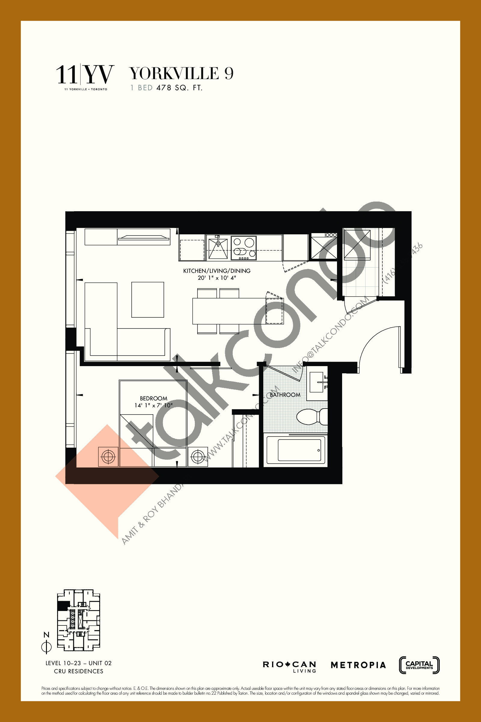 Yorkville 9 Floor Plan at 11YV Condos - 478 sq.ft