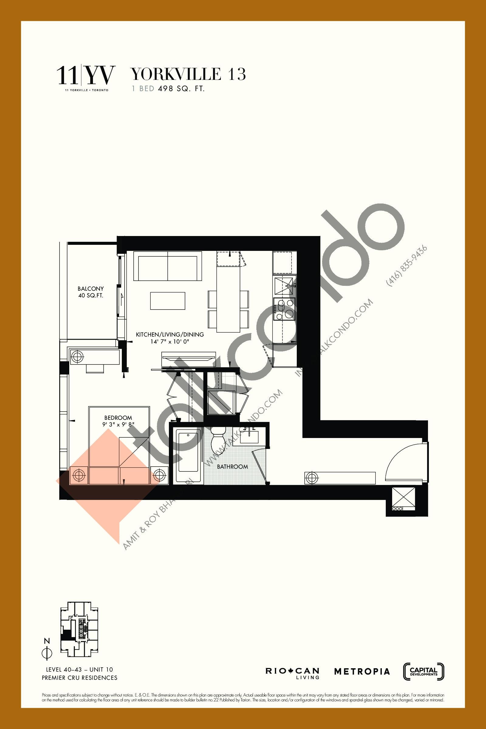 Yorkville 13 Floor Plan at 11YV Condos - 498 sq.ft