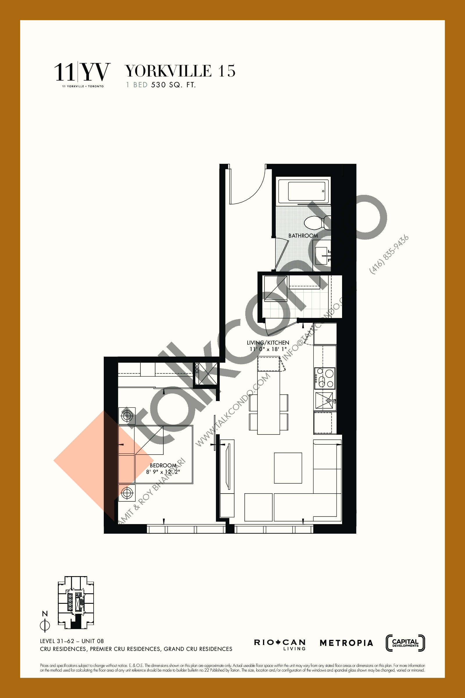 Yorkville 15 Floor Plan at 11YV Condos - 530 sq.ft