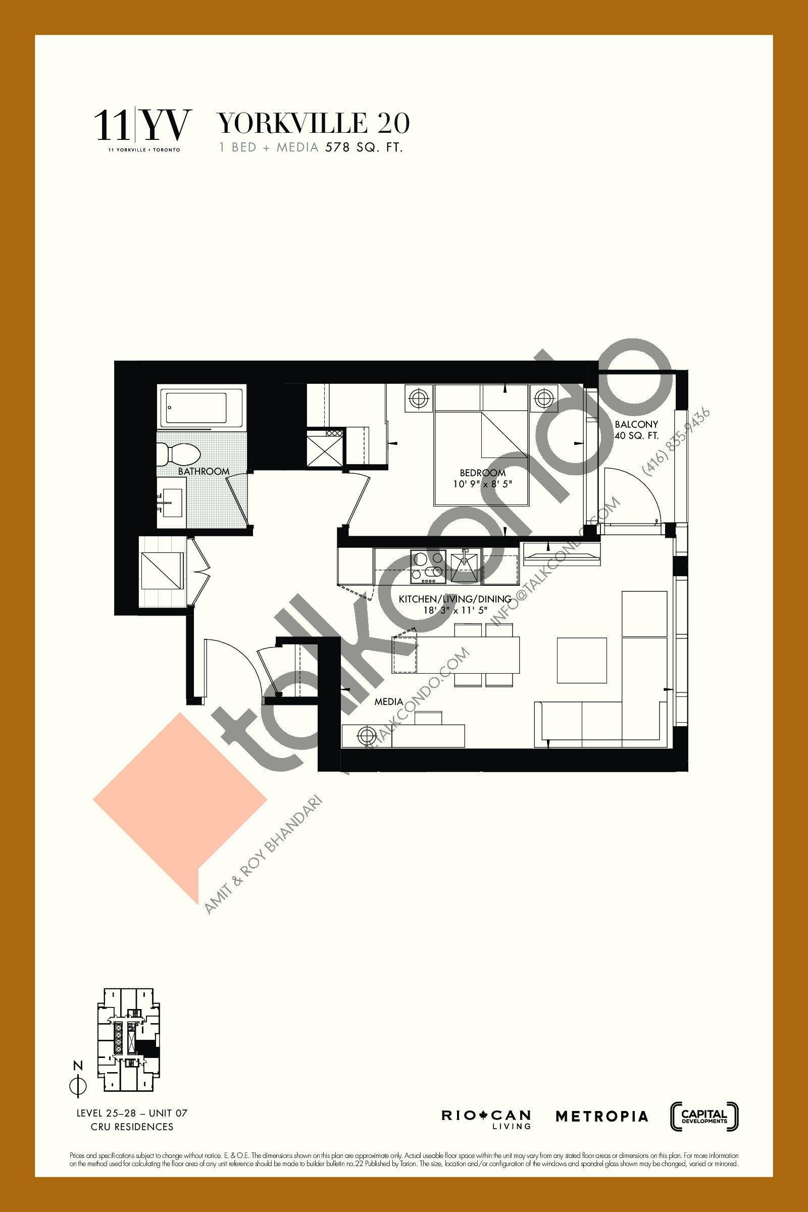 Yorkville 20 Floor Plan at 11YV Condos - 578 sq.ft