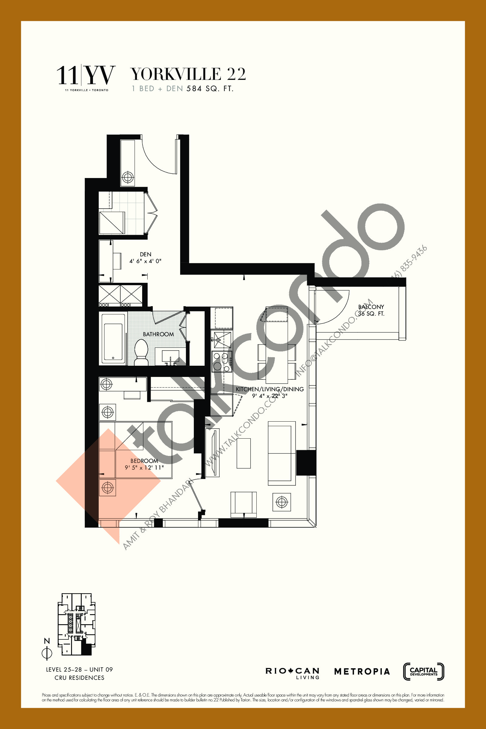 Yorkville 22 Floor Plan at 11YV Condos - 584 sq.ft