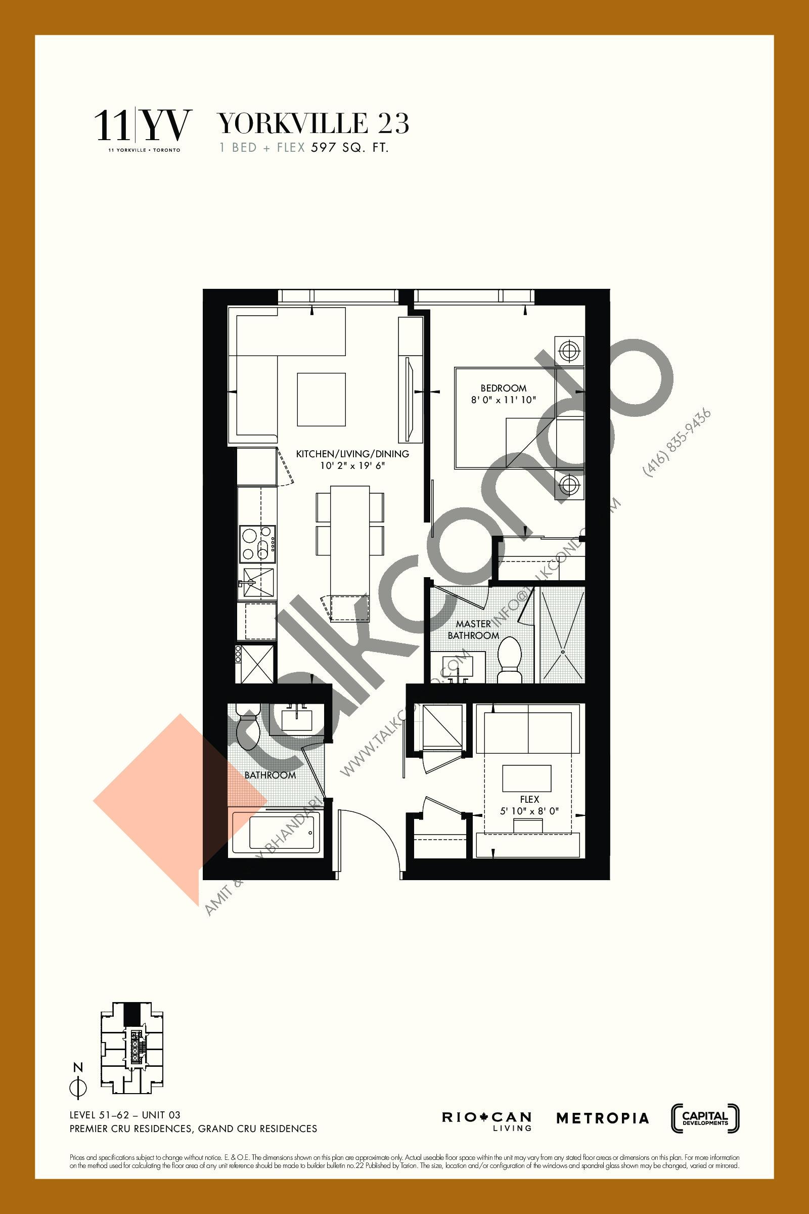 Yorkville 23 Floor Plan at 11YV Condos - 597 sq.ft