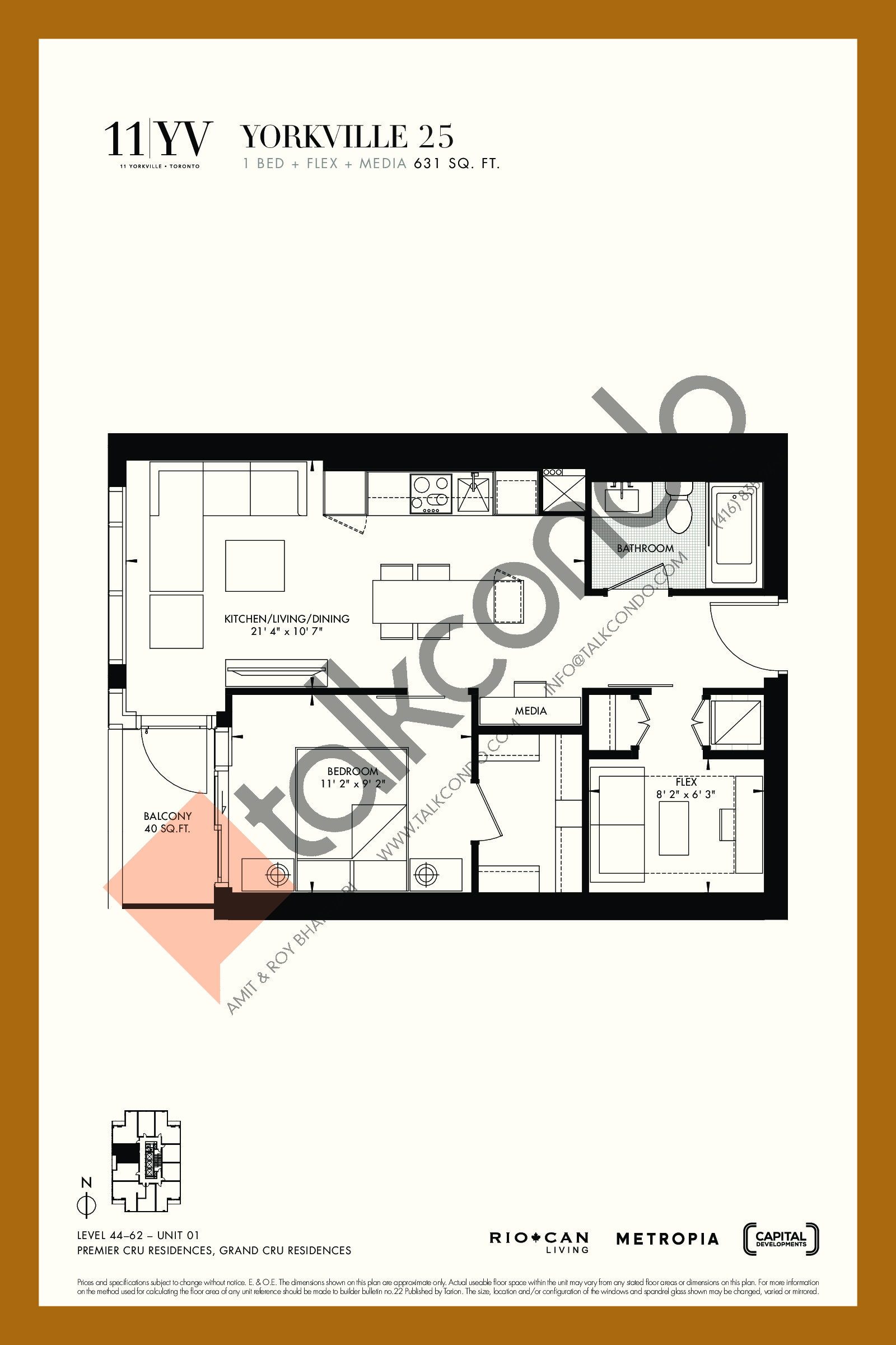 Yorkville 25 Floor Plan at 11YV Condos - 631 sq.ft