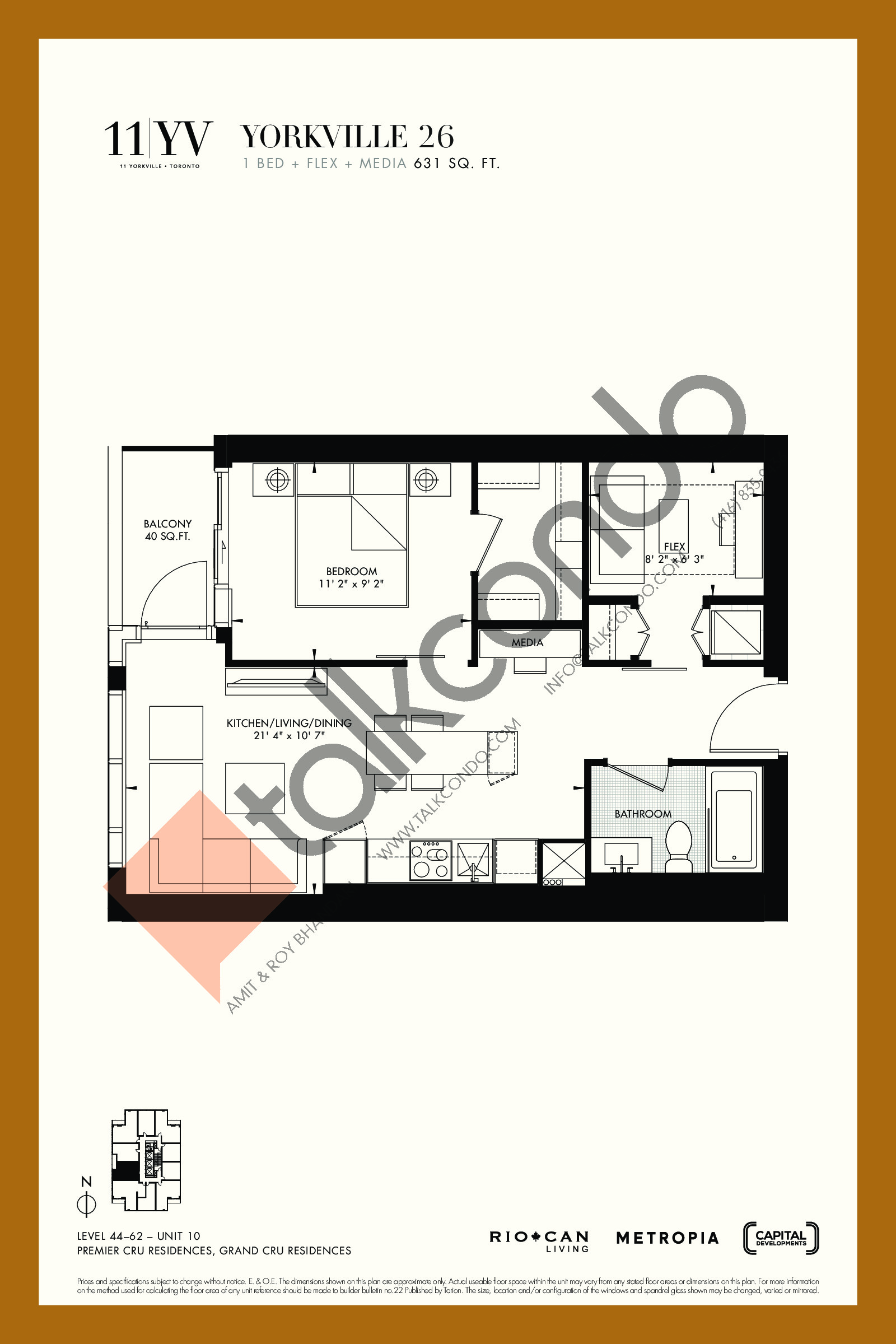 Yorkville 26 Floor Plan at 11YV Condos - 631 sq.ft