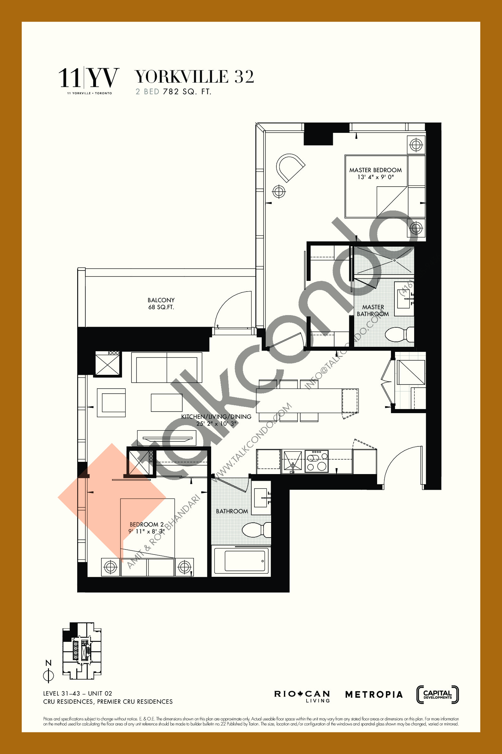 Yorkville 32 Floor Plan at 11YV Condos - 782 sq.ft