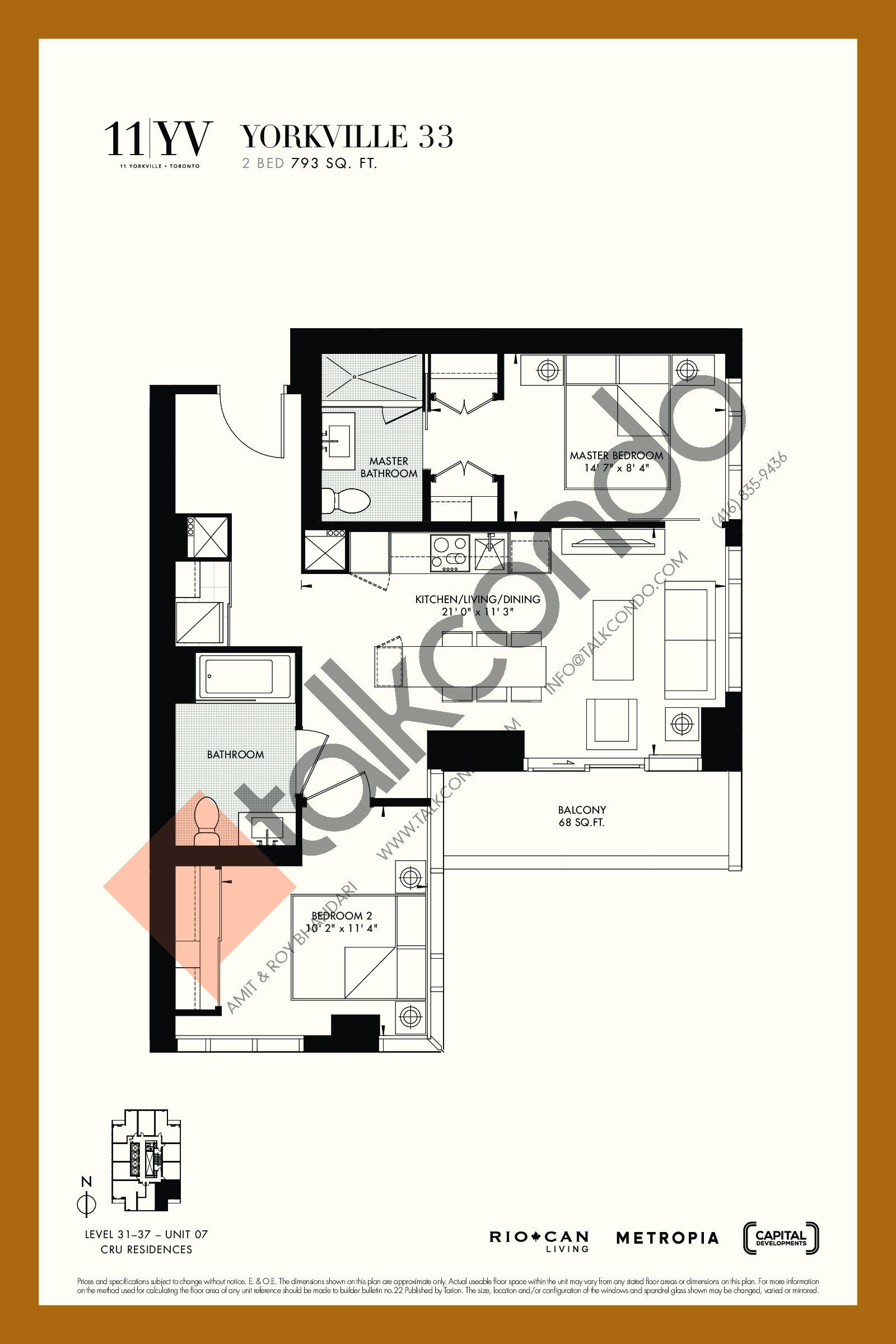 Yorkville 33 Floor Plan at 11YV Condos - 793 sq.ft