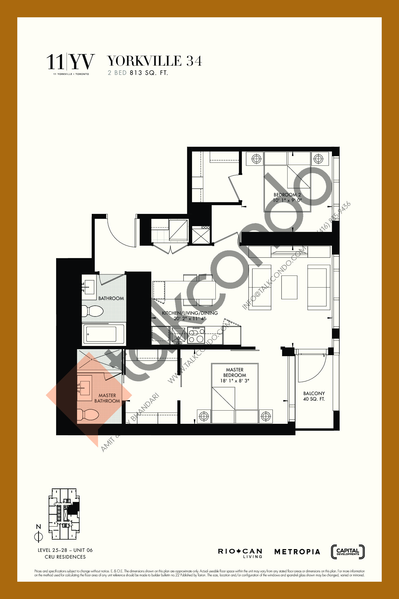 Yorkville 34 Floor Plan at 11YV Condos - 813 sq.ft