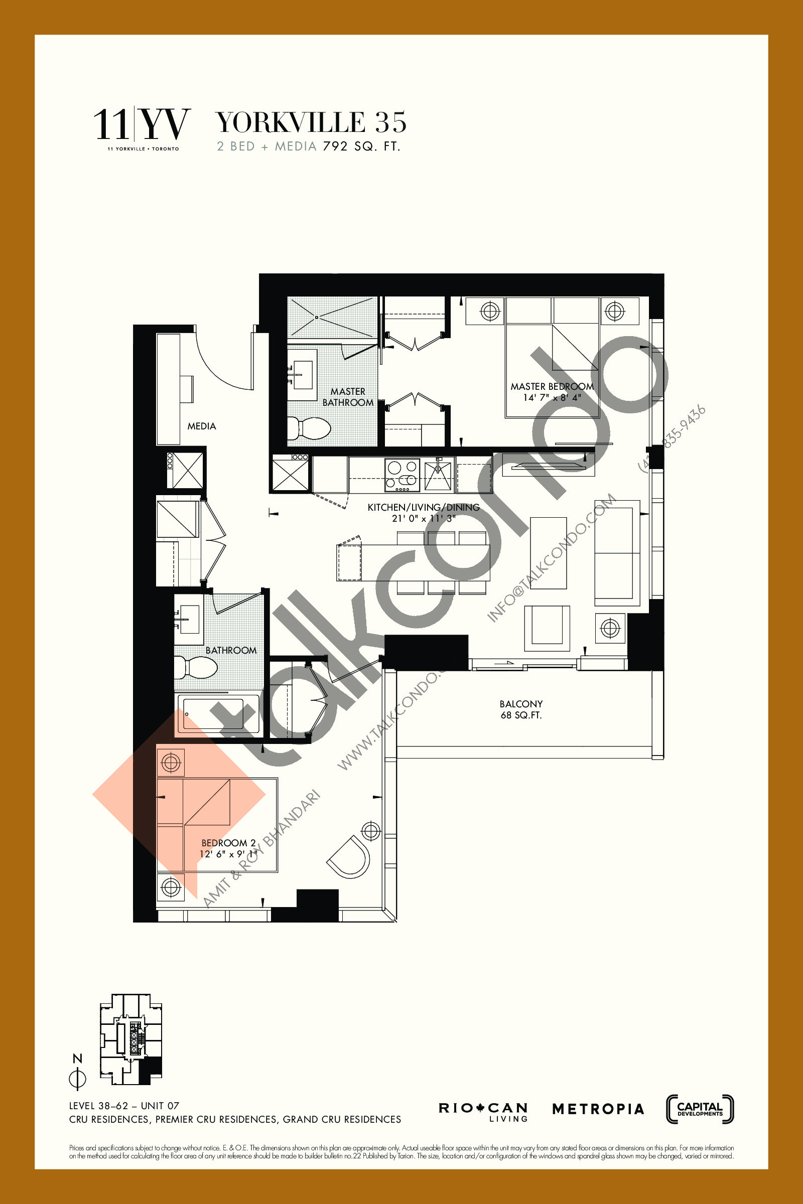 Yorkville 35 Floor Plan at 11YV Condos - 792 sq.ft