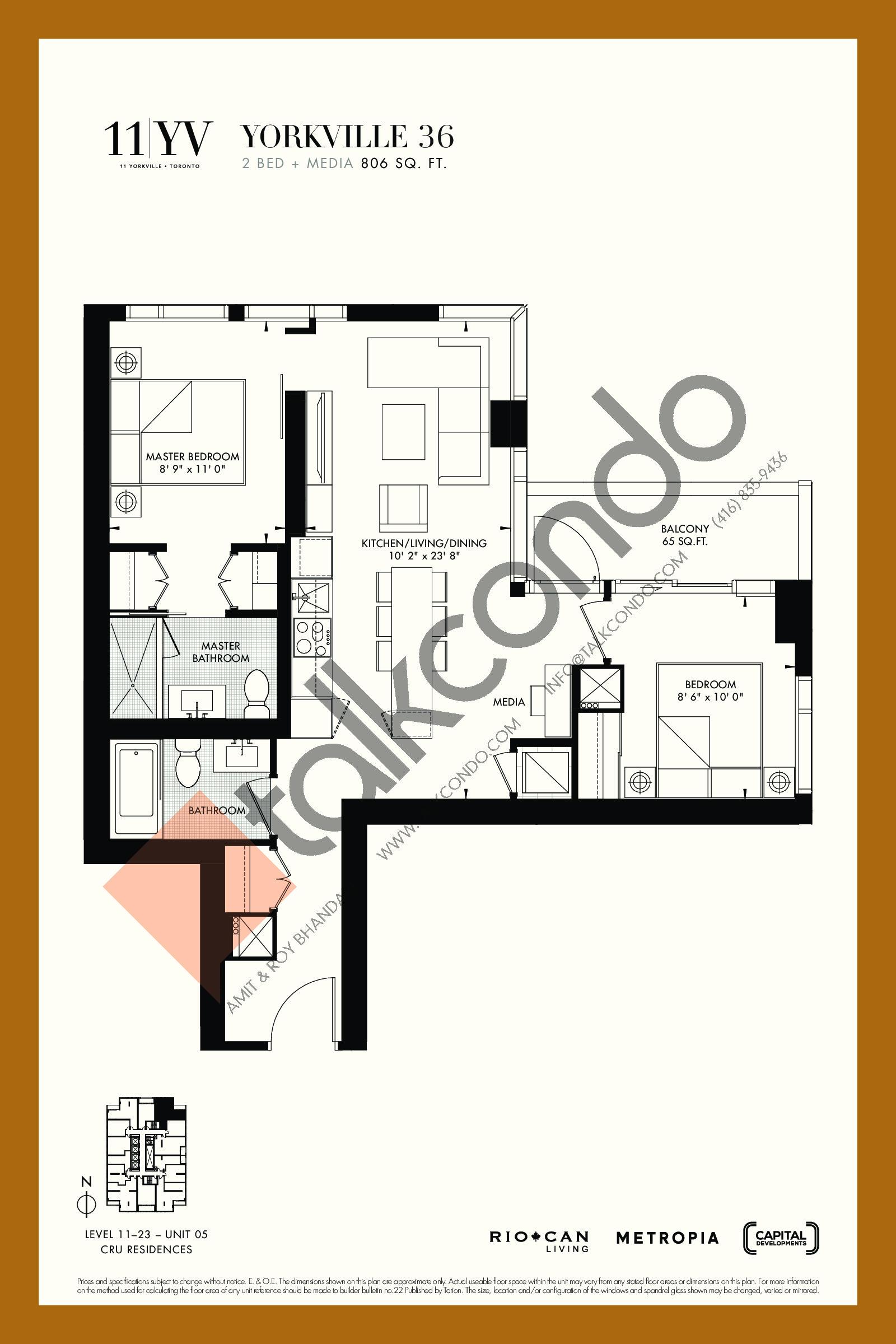 Yorkville 36 Floor Plan at 11YV Condos - 806 sq.ft