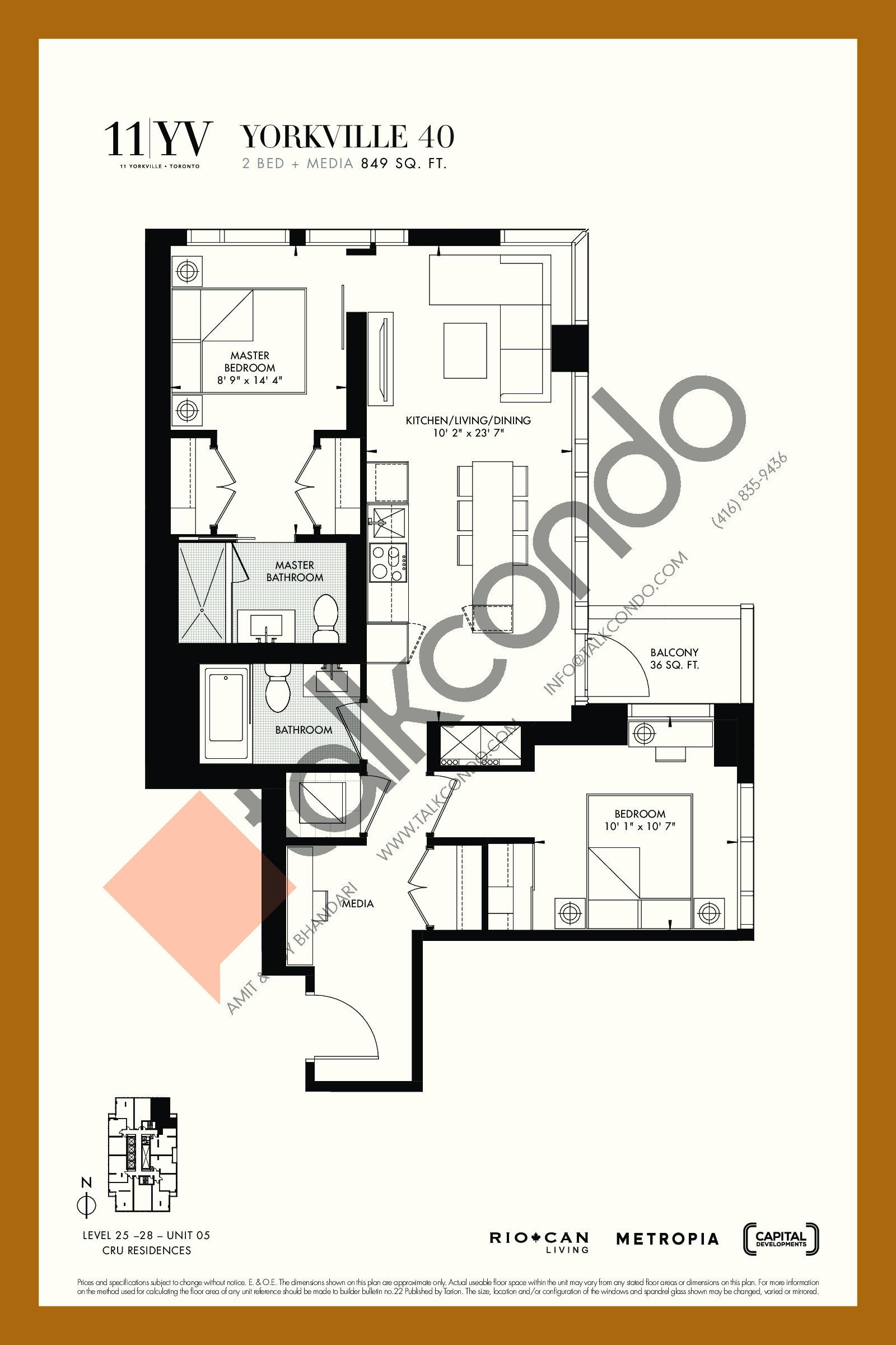 Yorkville 40 Floor Plan at 11YV Condos - 849 sq.ft