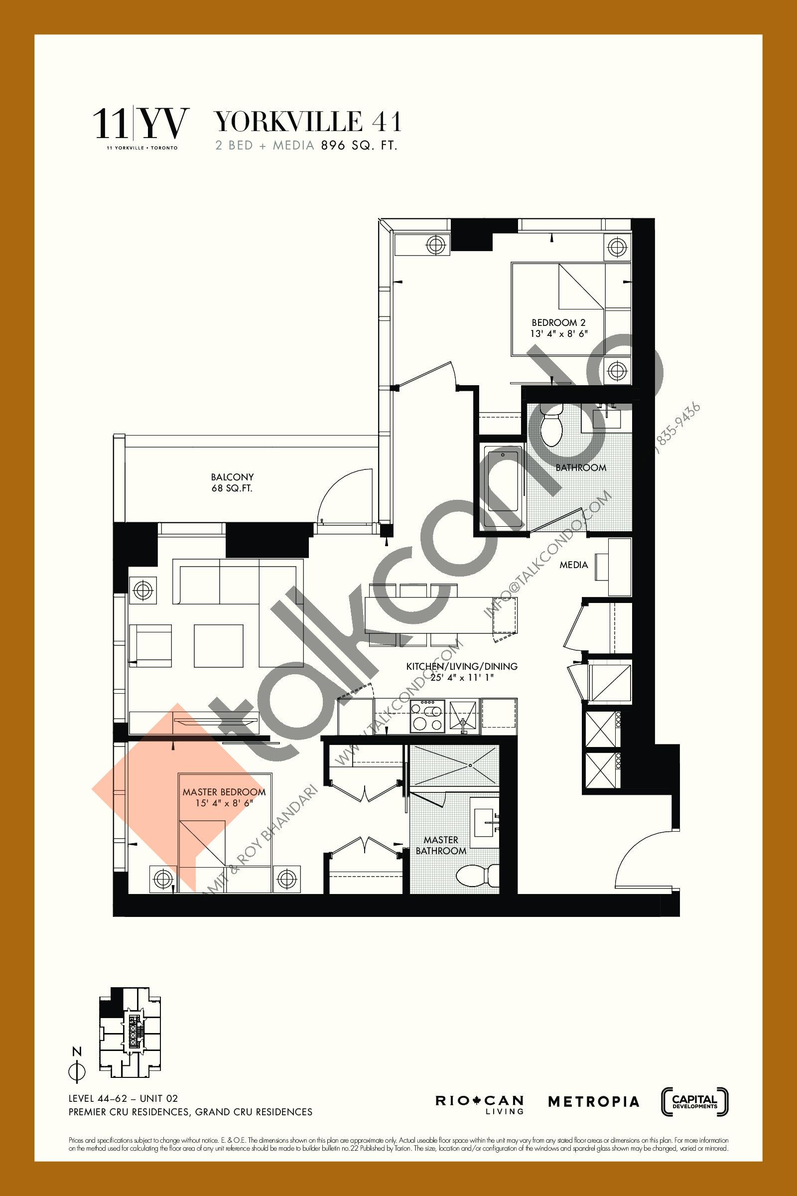 Yorkville 41 Floor Plan at 11YV Condos - 896 sq.ft