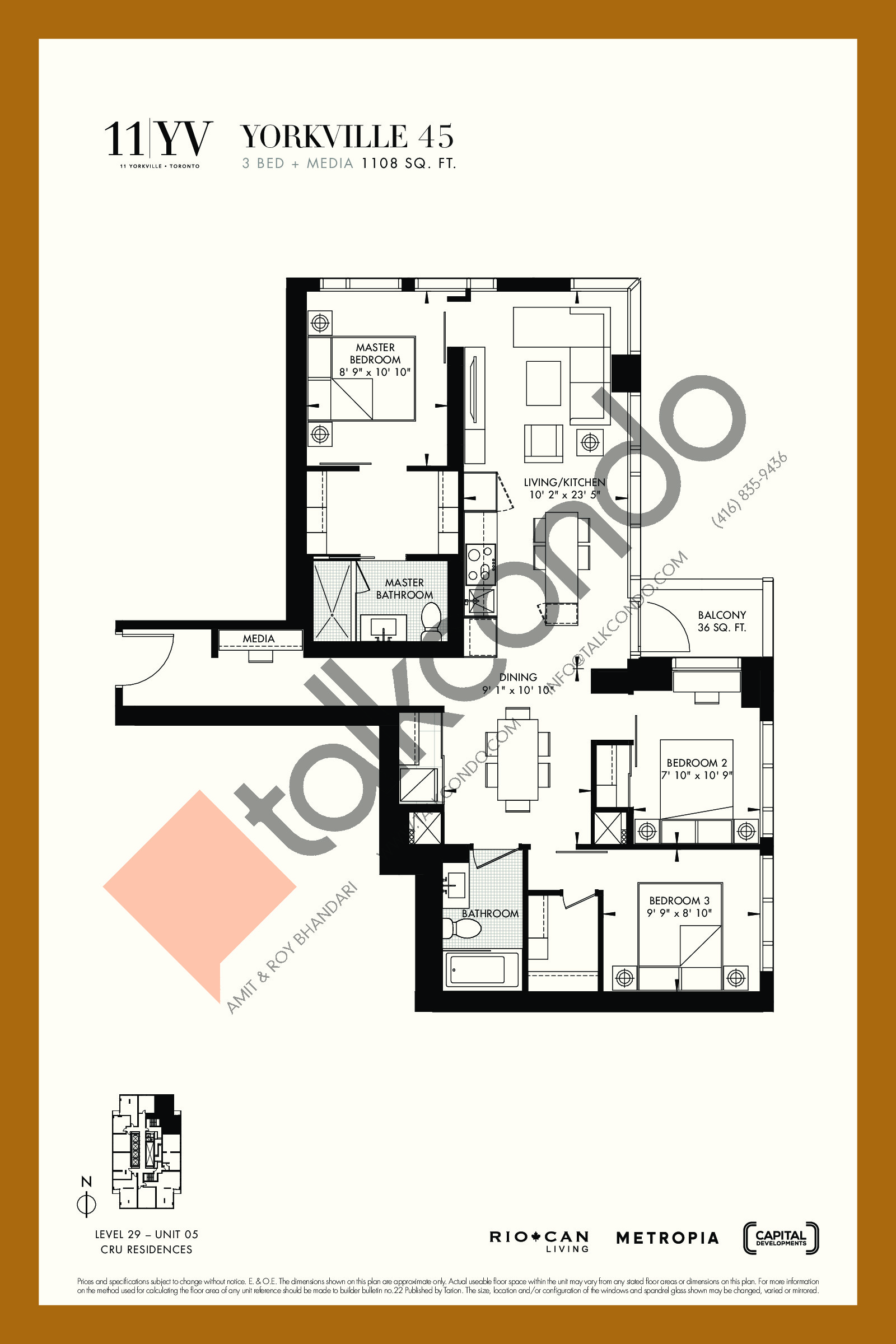 Yorkville 45 Floor Plan at 11YV Condos - 1108 sq.ft