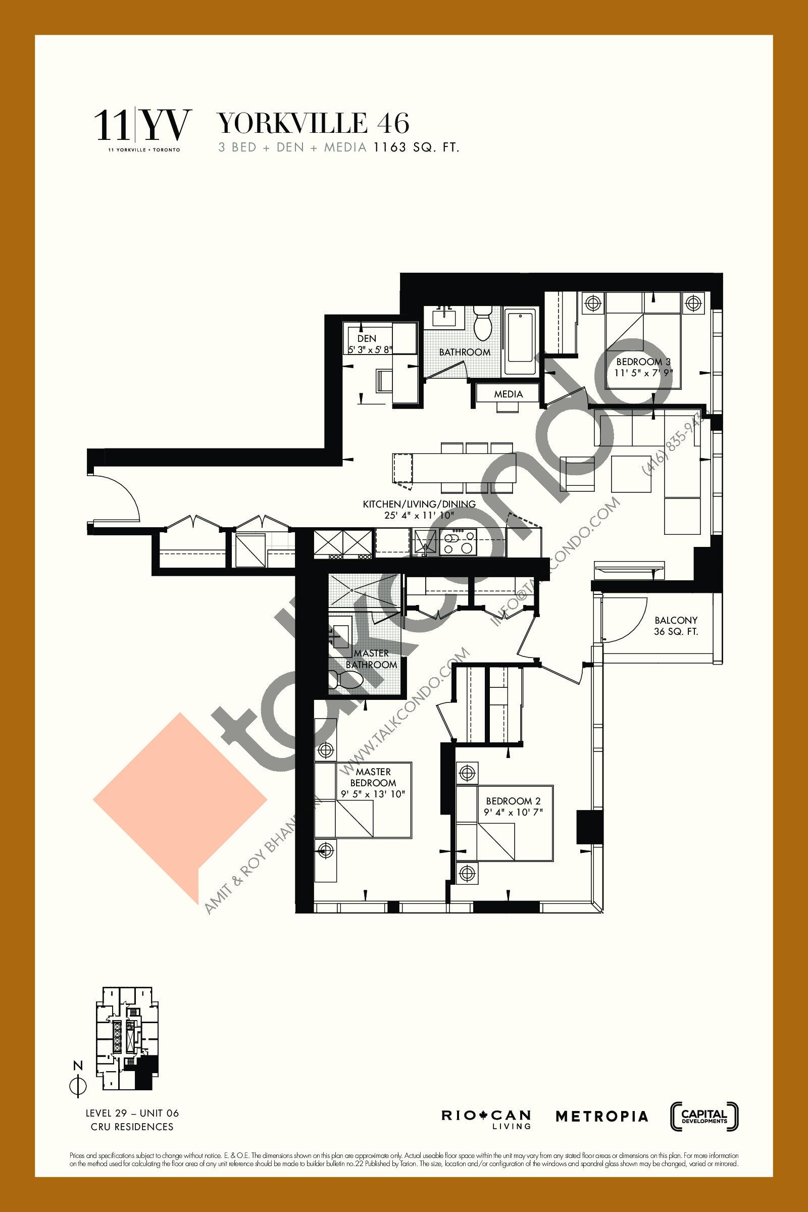 Yorkville 46 Floor Plan at 11YV Condos - 1163 sq.ft