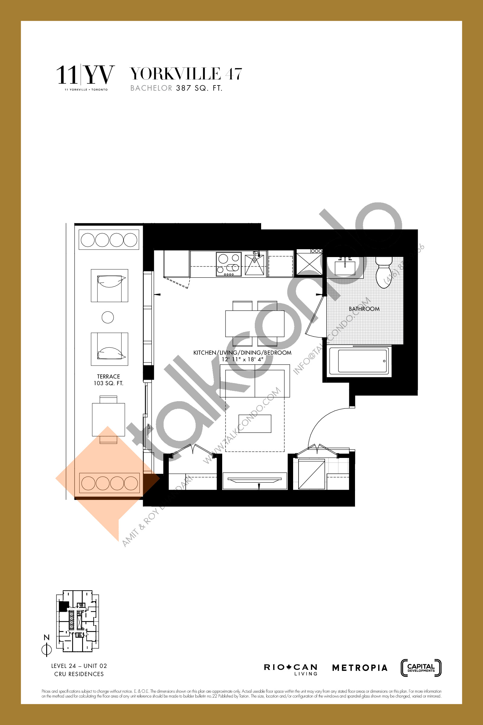 Yorkville 47 Floor Plan at 11YV Condos - 387 sq.ft