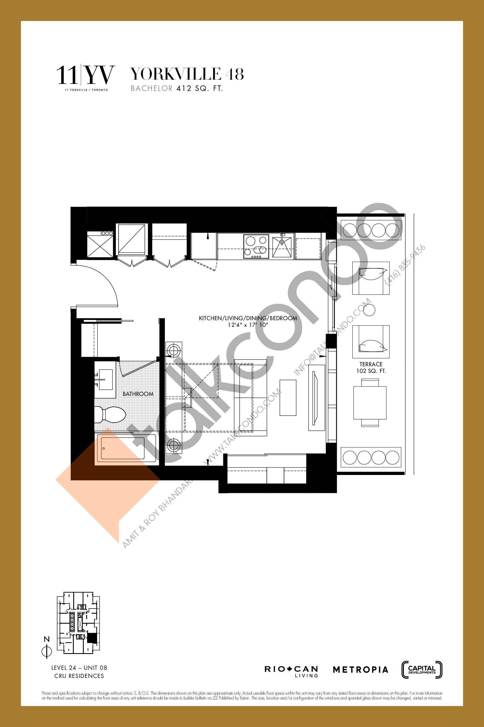 Yorkville 48 Floor Plan at 11YV Condos - 412 sq.ft