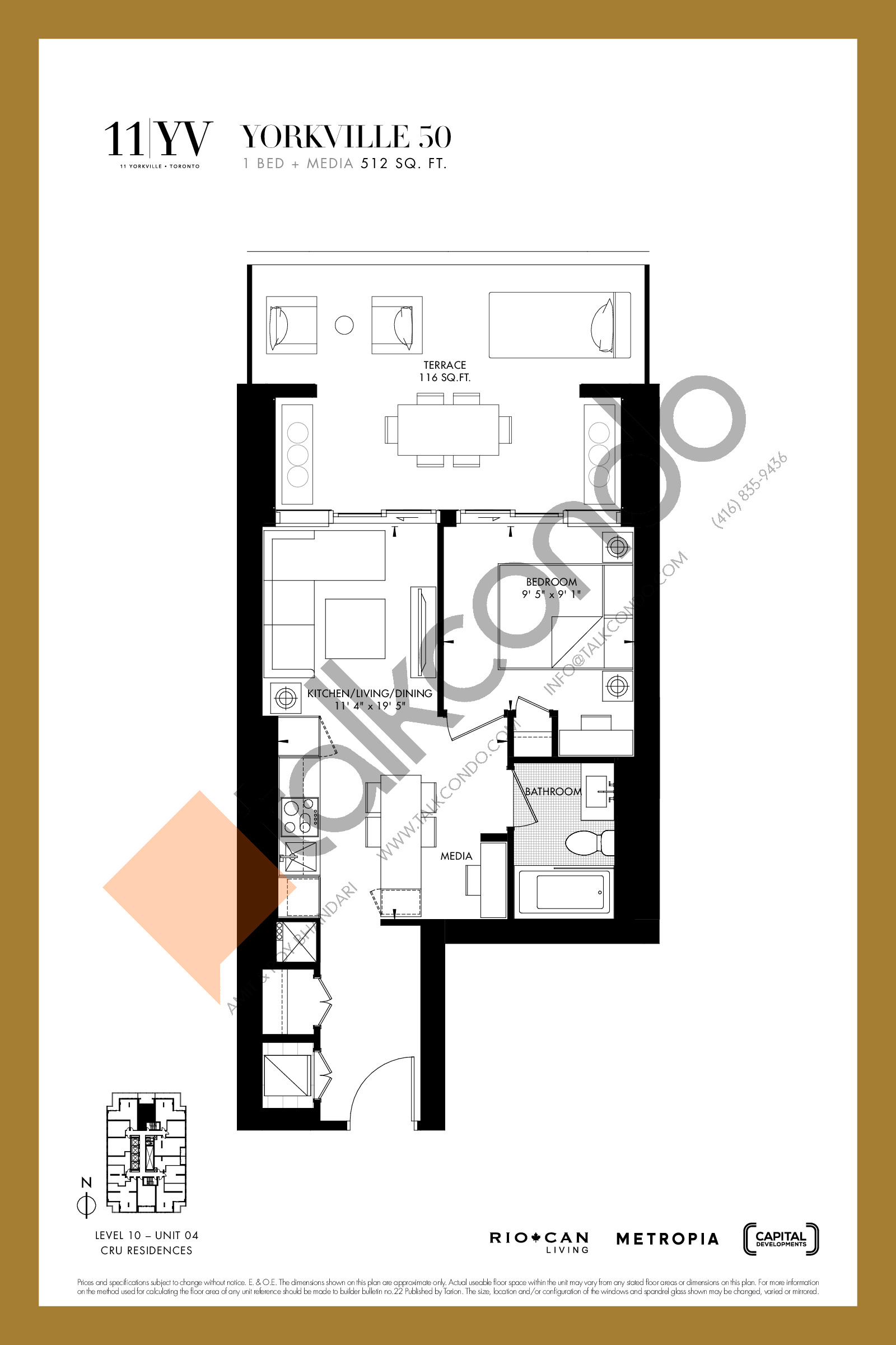 Yorkville 50 Floor Plan at 11YV Condos - 512 sq.ft