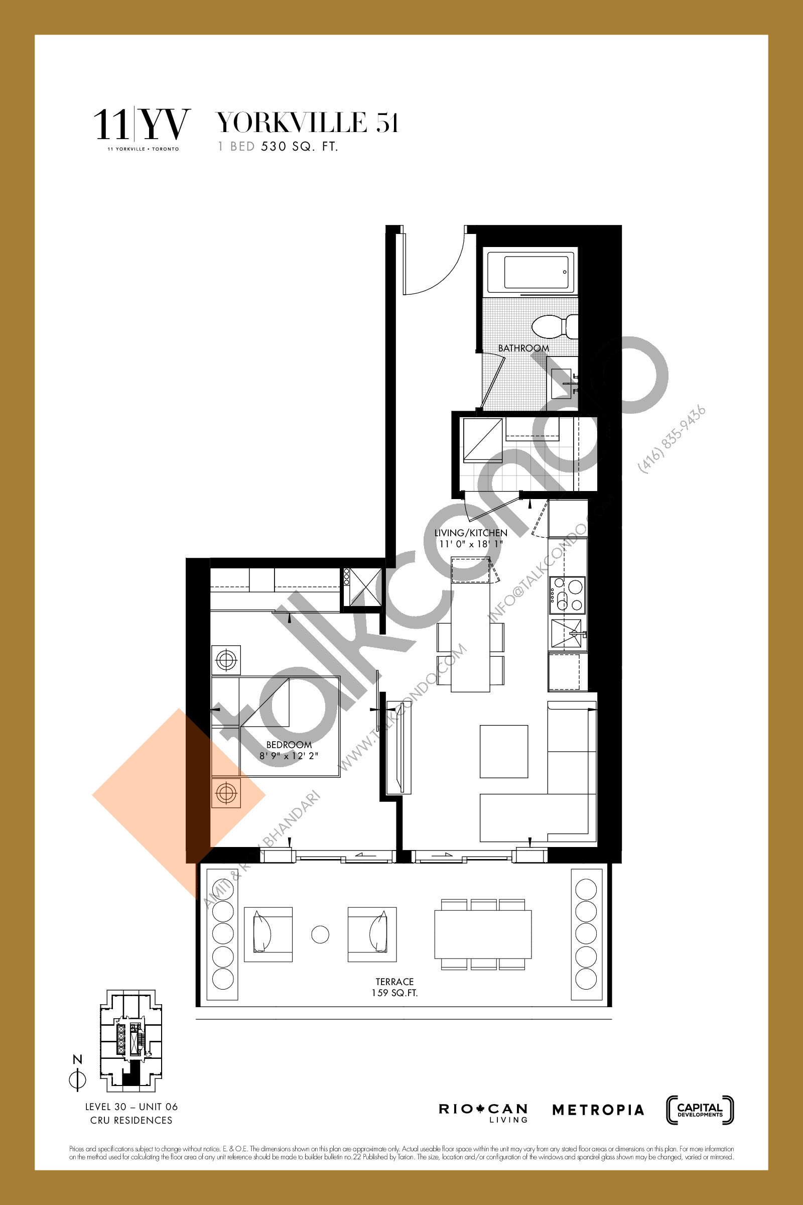 Yorkville 51 Floor Plan at 11YV Condos - 530 sq.ft