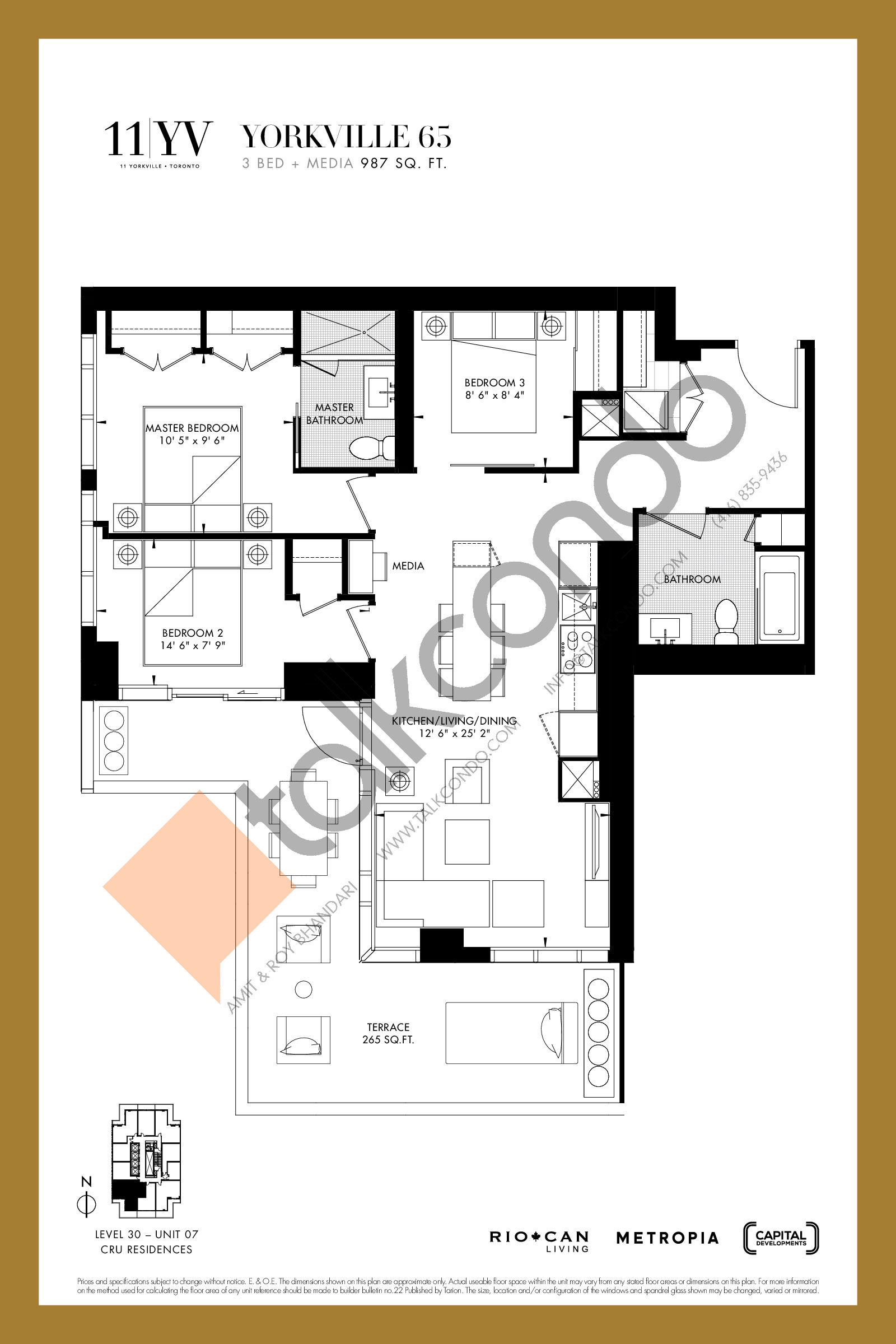 Yorkville 65 Floor Plan at 11YV Condos - 987 sq.ft