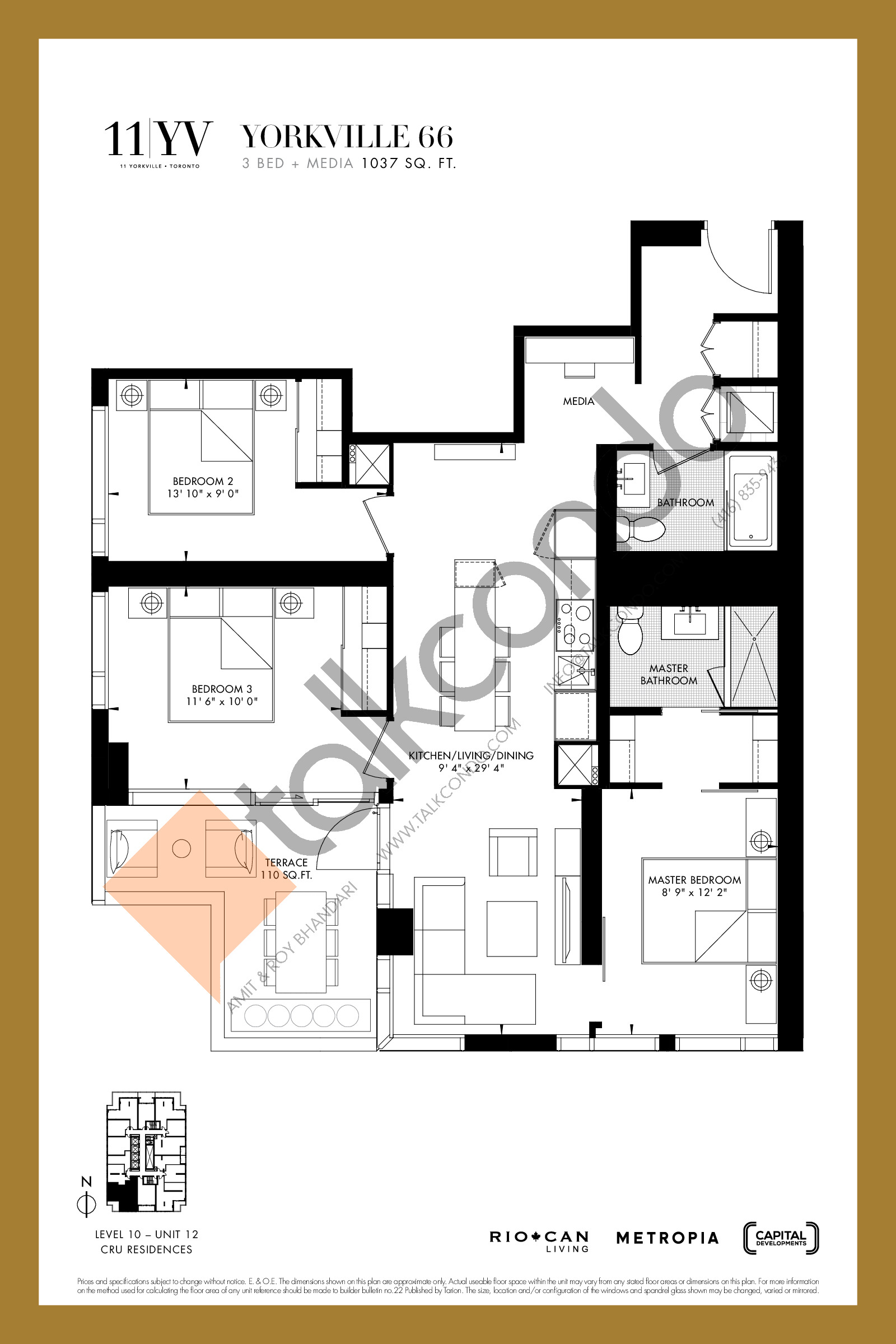 Yorkville 66 Floor Plan at 11YV Condos - 1037 sq.ft
