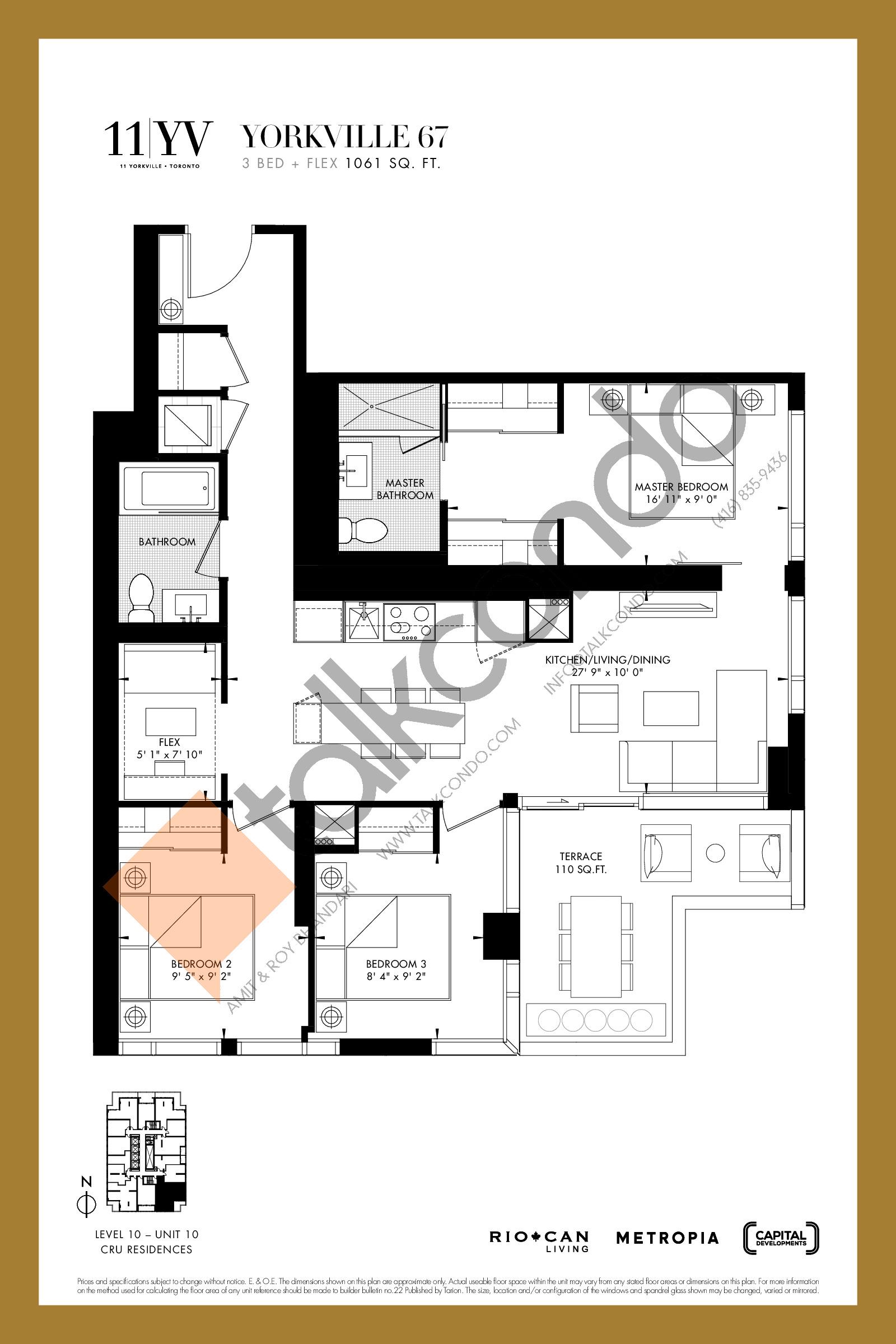 Yorkville 67 Floor Plan at 11YV Condos - 1061 sq.ft