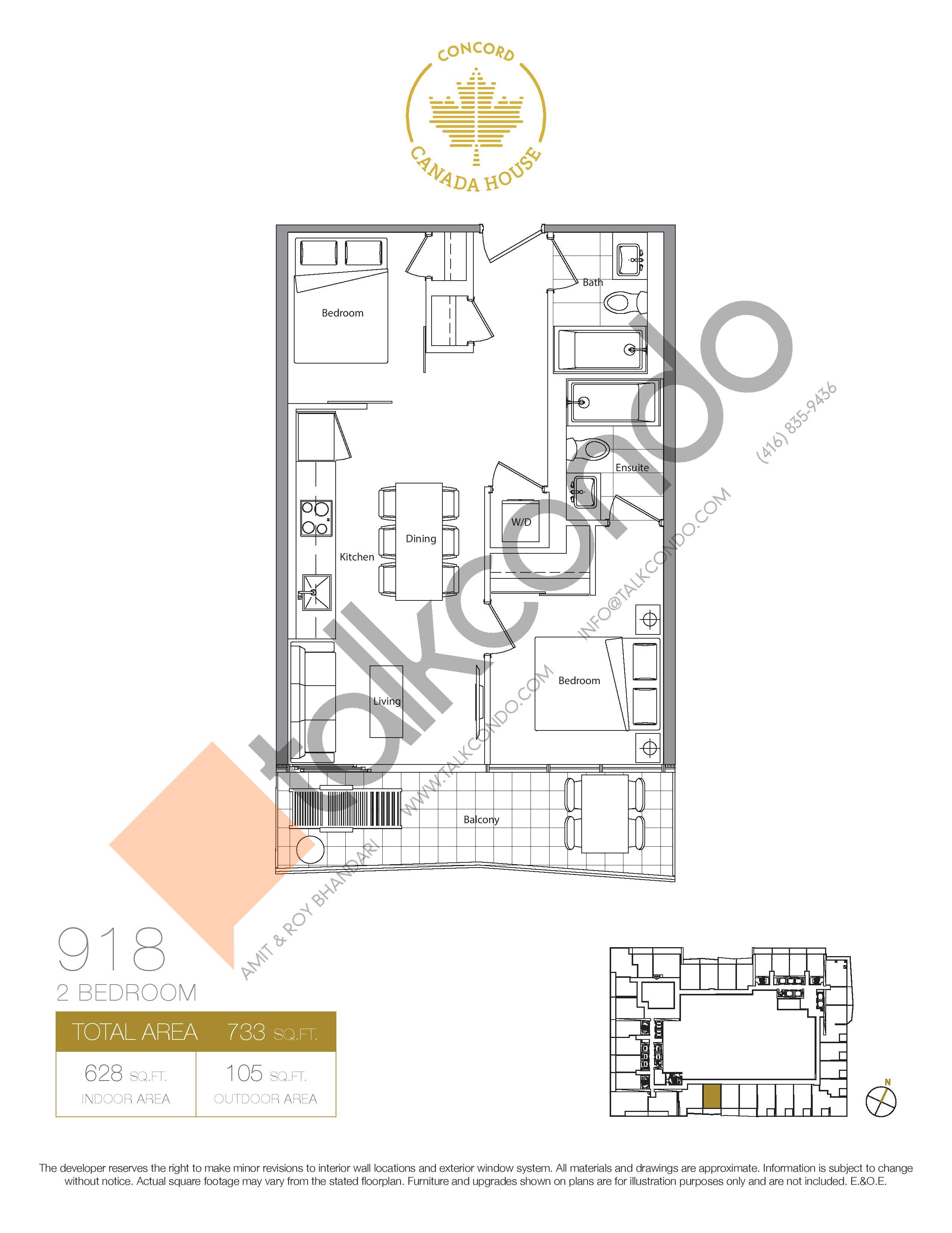 918 (Podium) Floor Plan at Concord Canada House Condos - 628 sq.ft