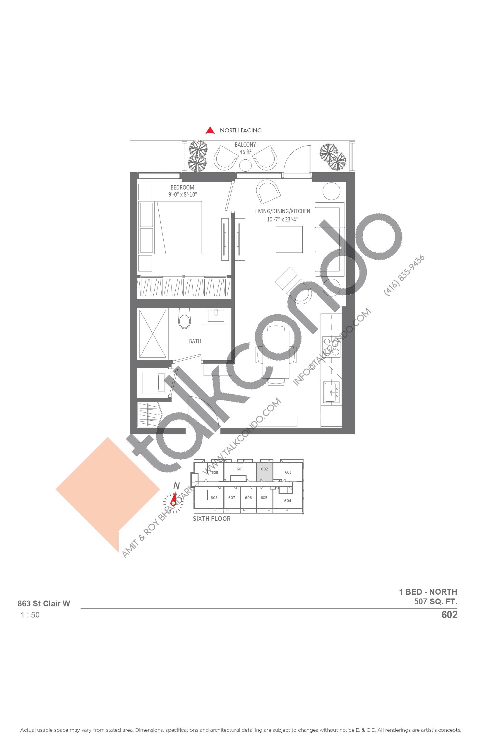 602 Floor Plan at Monza Condos - 507 sq.ft