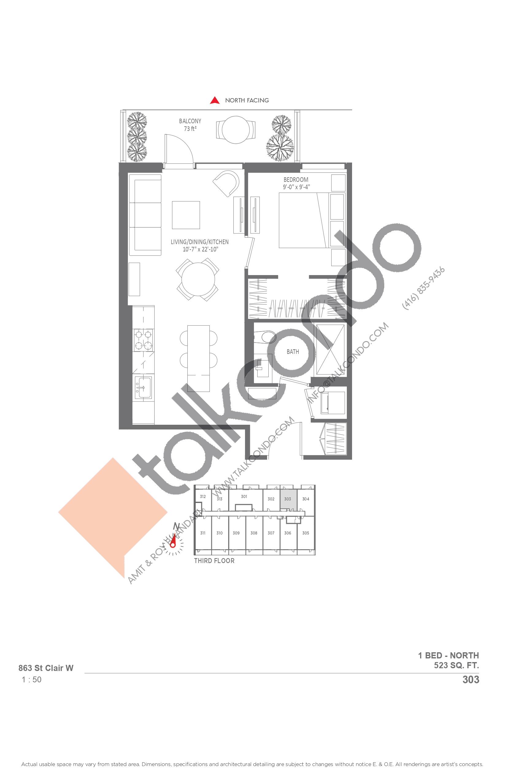 303 Floor Plan at Monza Condos - 523 sq.ft