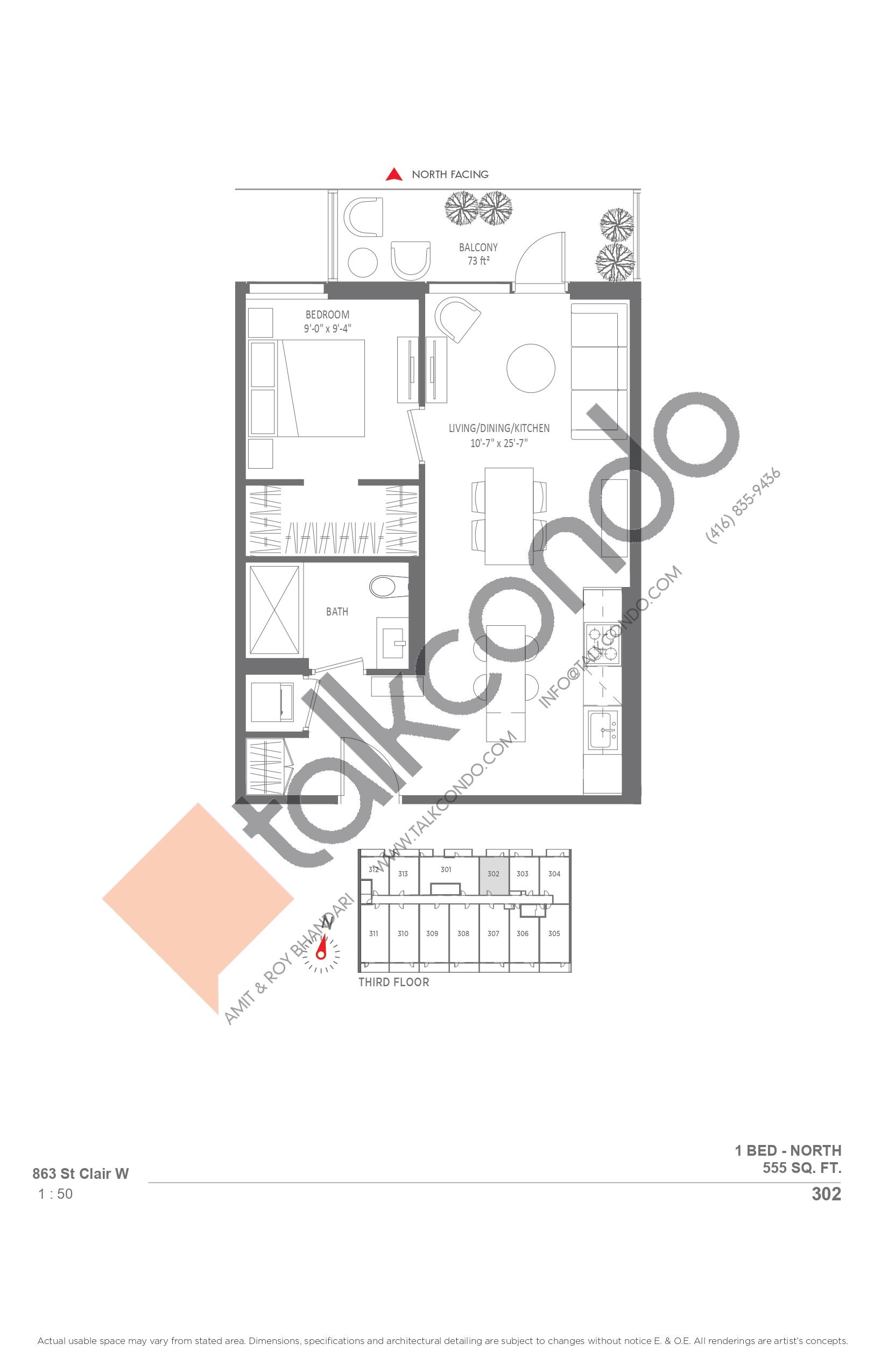 302 Floor Plan at Monza Condos - 555 sq.ft