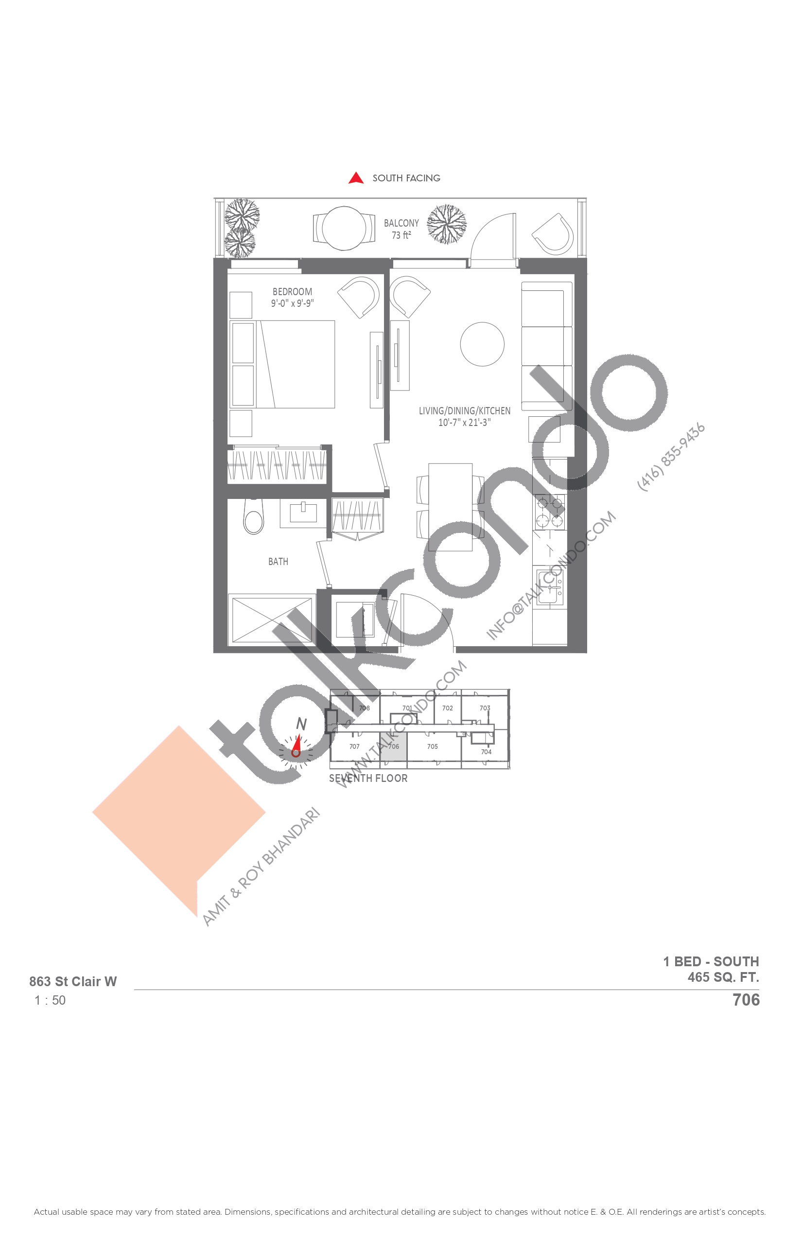 706 Floor Plan at Monza Condos - 465 sq.ft