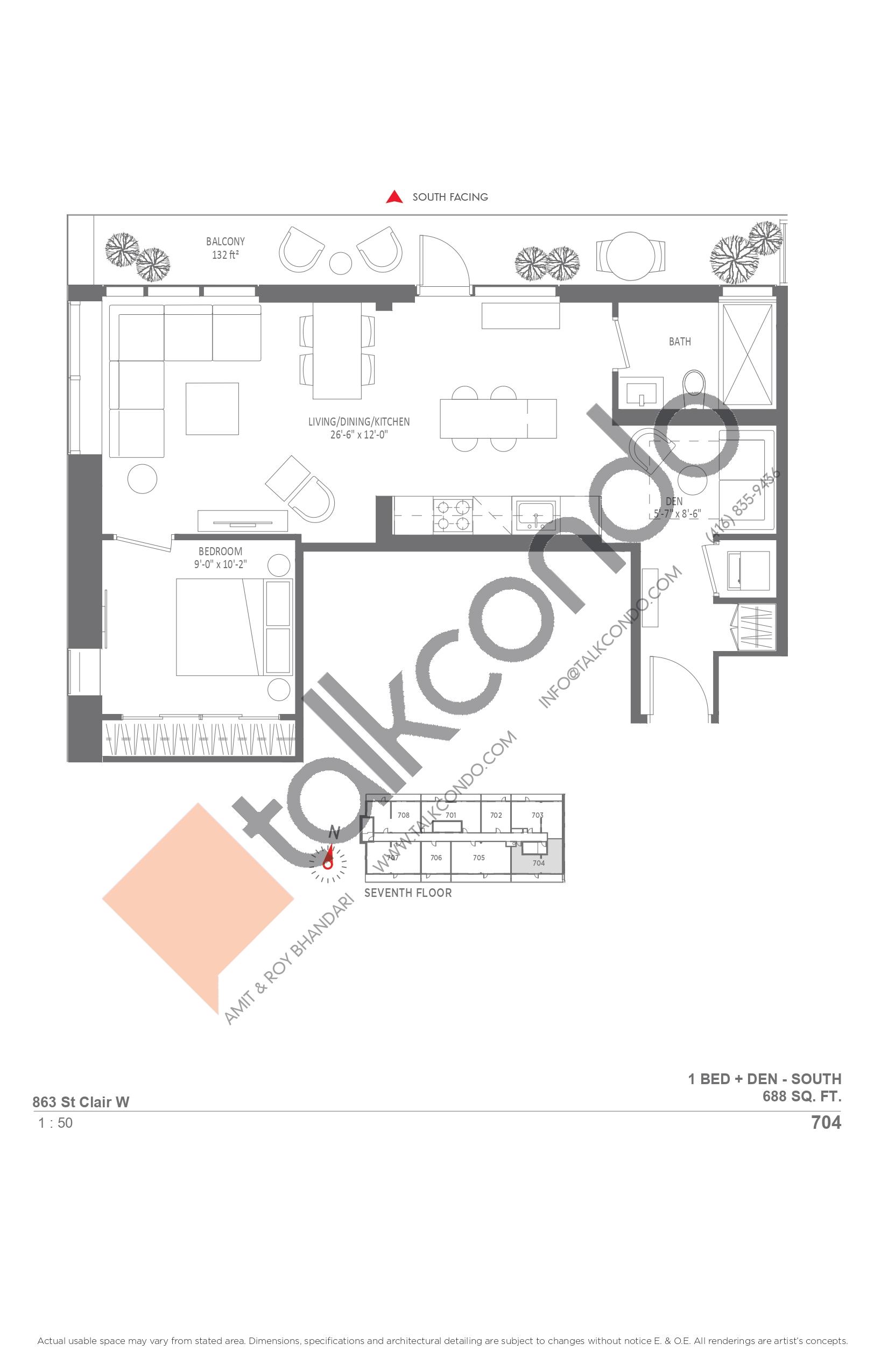 704 Floor Plan at Monza Condos - 688 sq.ft