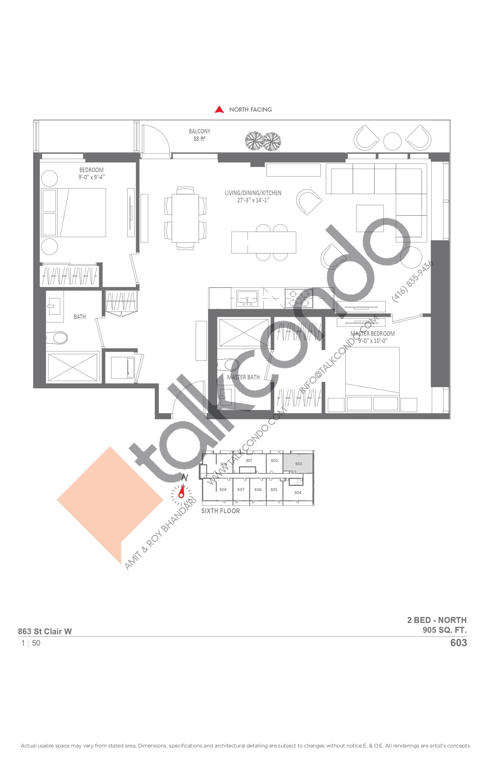 603 Floor Plan at Monza Condos - 905 sq.ft