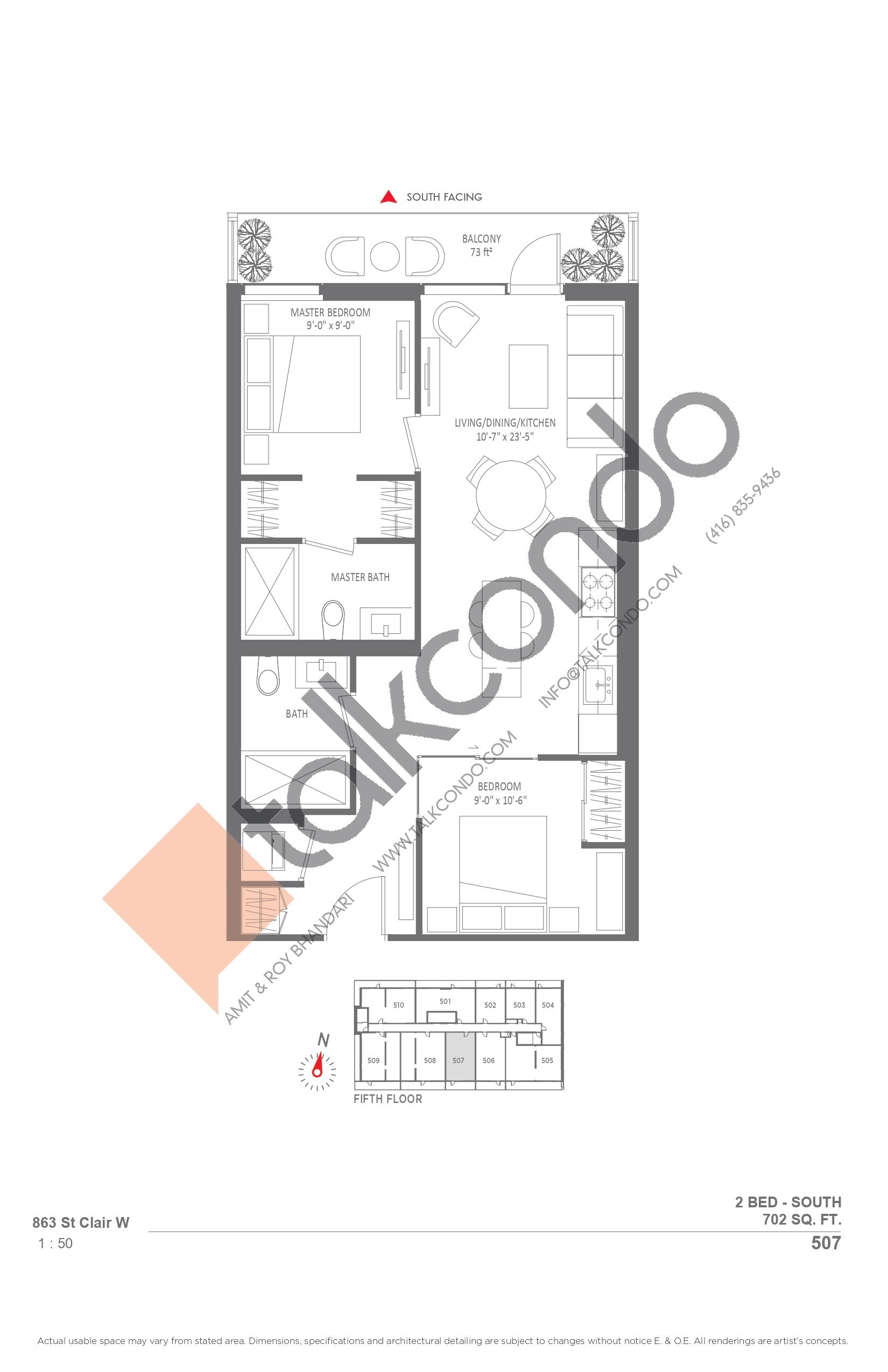 507 Floor Plan at Monza Condos - 702 sq.ft