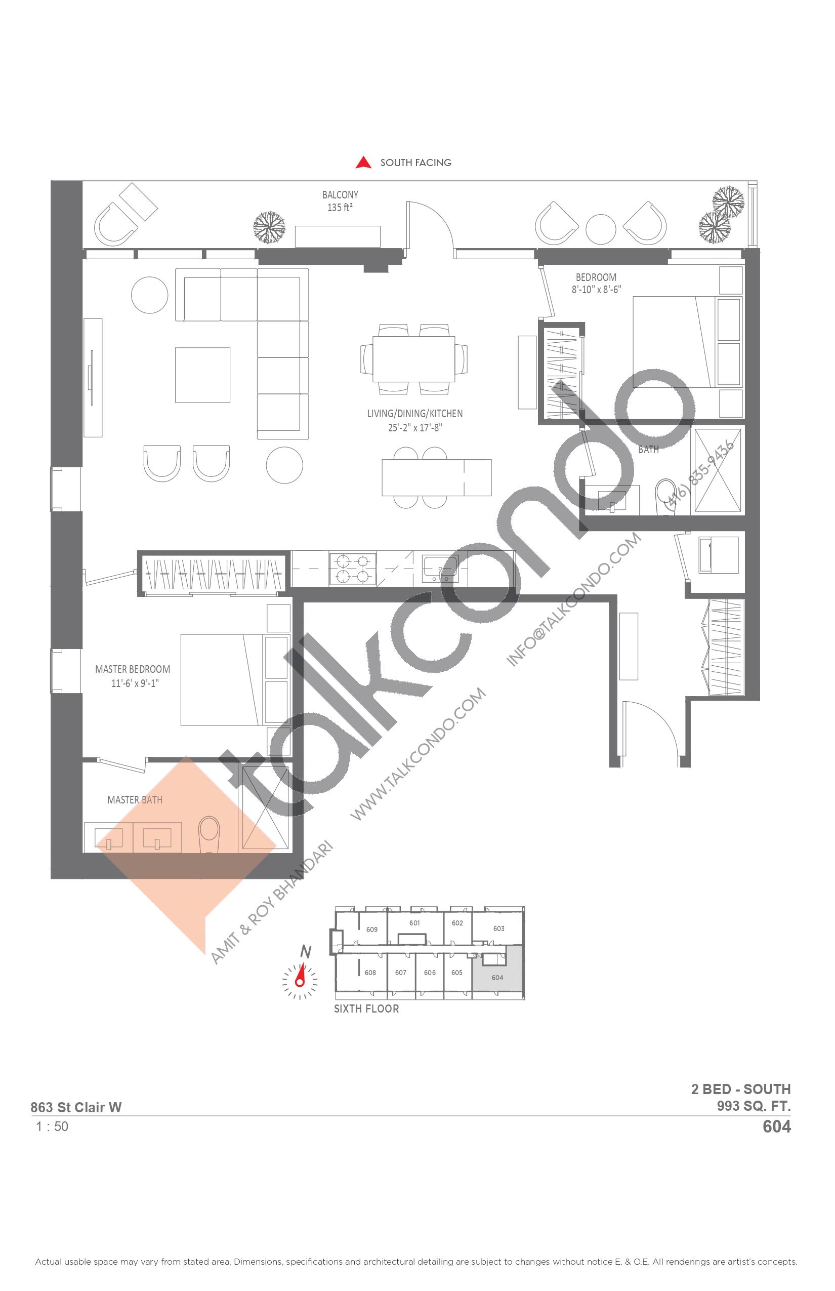 604 Floor Plan at Monza Condos - 993 sq.ft