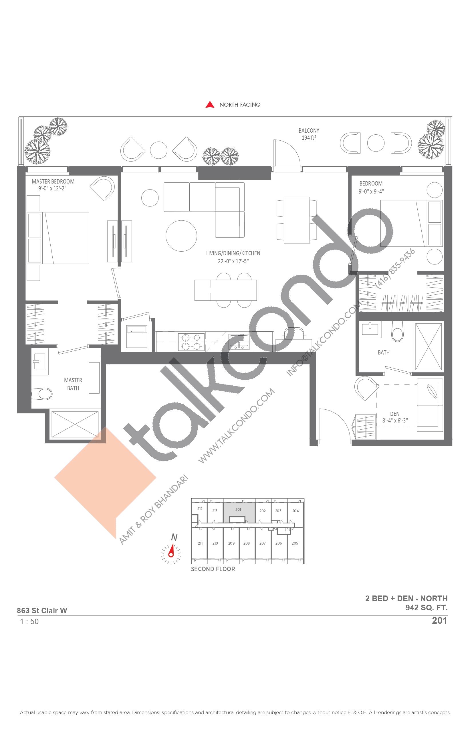 201 Floor Plan at Monza Condos - 942 sq.ft