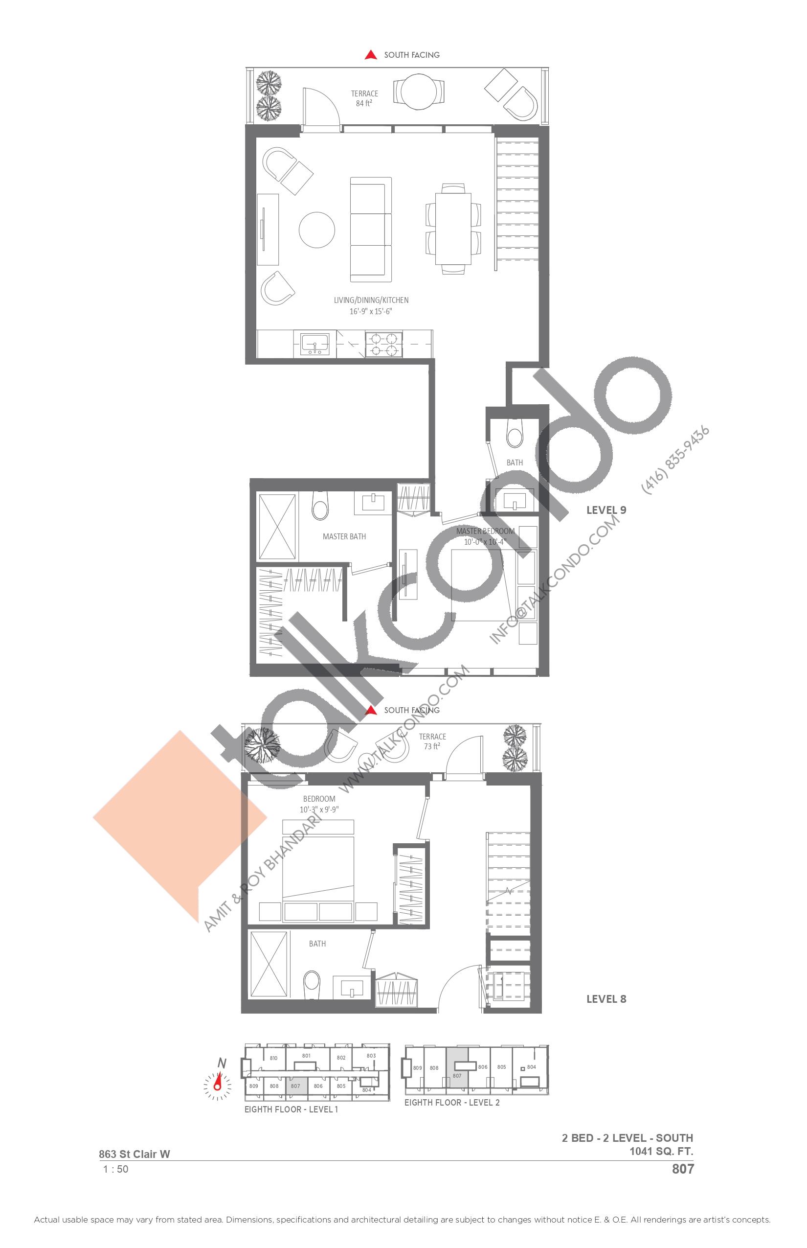 807 Floor Plan at Monza Condos - 1041 sq.ft