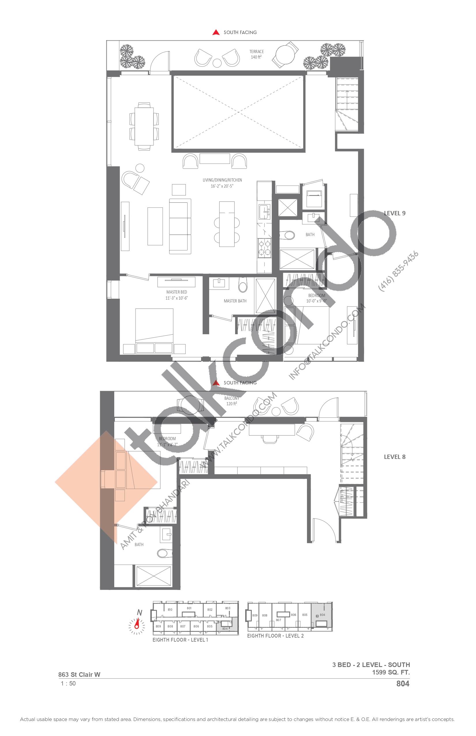 804 Floor Plan at Monza Condos - 1599 sq.ft
