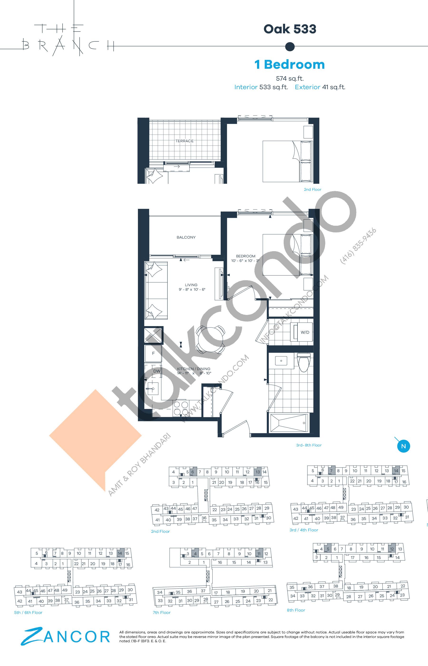 Oak 533 Floor Plan at The Branch Condos - 533 sq.ft